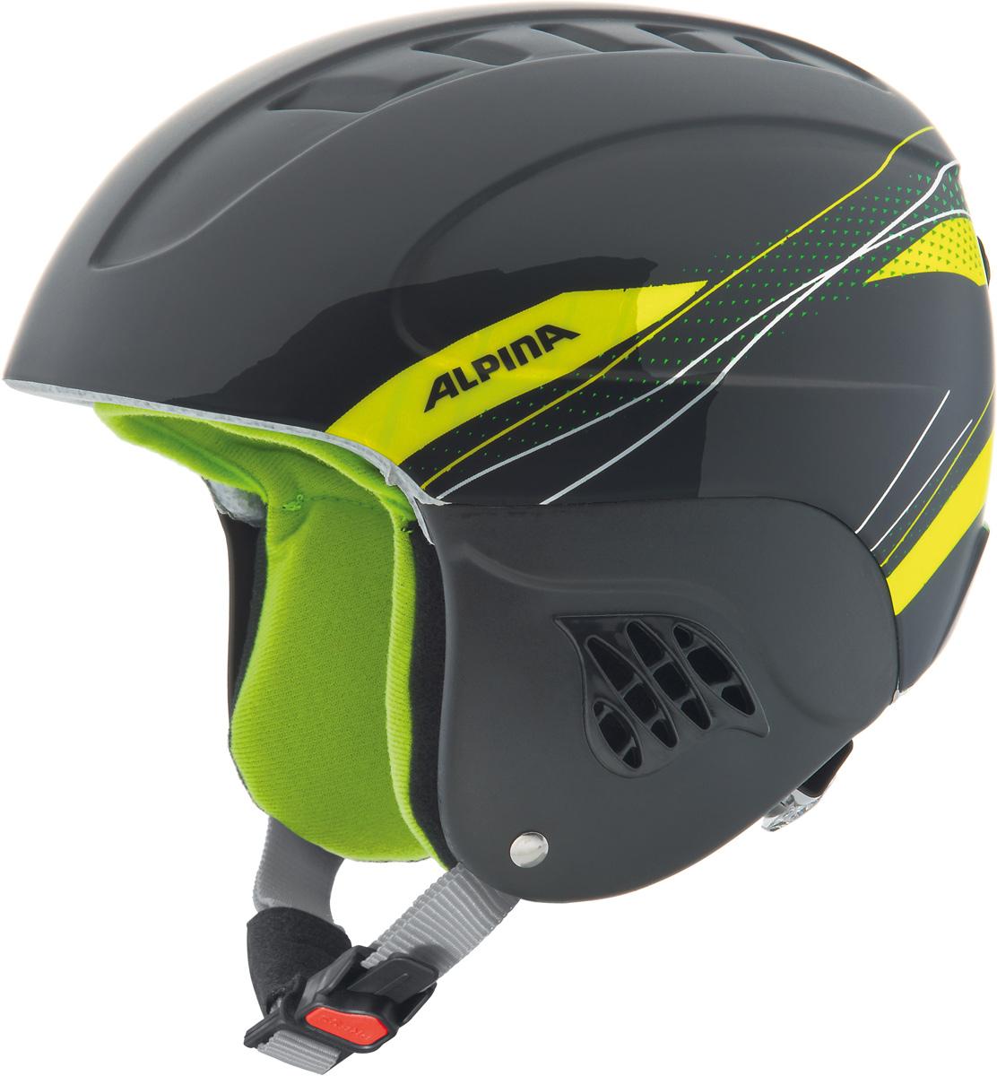 Шлем горнолыжный детский Alpina Carat, цвет: черный, зеленый. A9035_34. Размер 48-52A9035_34Серия детских и подростковых шлемов Carat пополнилась моделью LX. Главным нововведением стало использование перфорации в жёстких наушниках, которые по-прежнему обеспечивают высокую степень защиты, но при этом позволяют слышать всё вокруг.• Вентиляционные отверстия препятствуют перегреву и позволяют поддерживать идеальную температуру внутри шлема. Для этого инженеры Alpina используют эффект Вентури, чтобы сделать циркуляцию воздуха постоянной и максимально эффективной.• Внутренник шлема легко вынимается, стирается, сушится и вставляется обратно.• Из задней части шлема можно достать шейный утеплитель из мякого микро-флиса. Этот теплый воротник также защищает шею от ударов на высокой скорости и при сибирских морозах. В удобной конструкции отсутствуют точки давления на шею.• Прочная и лёгкая конструкция In-mold. Тонкая и прочная поликарбонатная оболочка под воздействием высокой температуры и давления буквально сплавляется с гранулами EPS, которые гасят ударную нагрузку.• Внутренная оболочка каждого шлема Alpina состоит из гранул HI-EPS (сильно вспененного полистирола). Микроскопические воздушные карманы эффективно поглощают ударную нагрузку и обеспечивают высокую теплоизоляцию. Эта технология позволяет достичь минимальной толщины оболочки. А так как гранулы HI-EPS не впитывают влагу, их защитный эффект не ослабевает со временем.• Удобная и точная система регулировки Run System Ergo Snow позволяет быстро и комфортно подогнать шлем по голове, без создания отдельных точек избыточного давления.• Y-образный ремнераспределитель двух ремешков находится под ухом и обеспечивает быструю и точную посадку шлема на голове.• Вместо фастекса на ремешке используется красная кнопка с автоматическим запирающим механизмом, которую легко использовать даже в лыжных перчатках. Механизм защищён от произвольного раскрытия при падении.