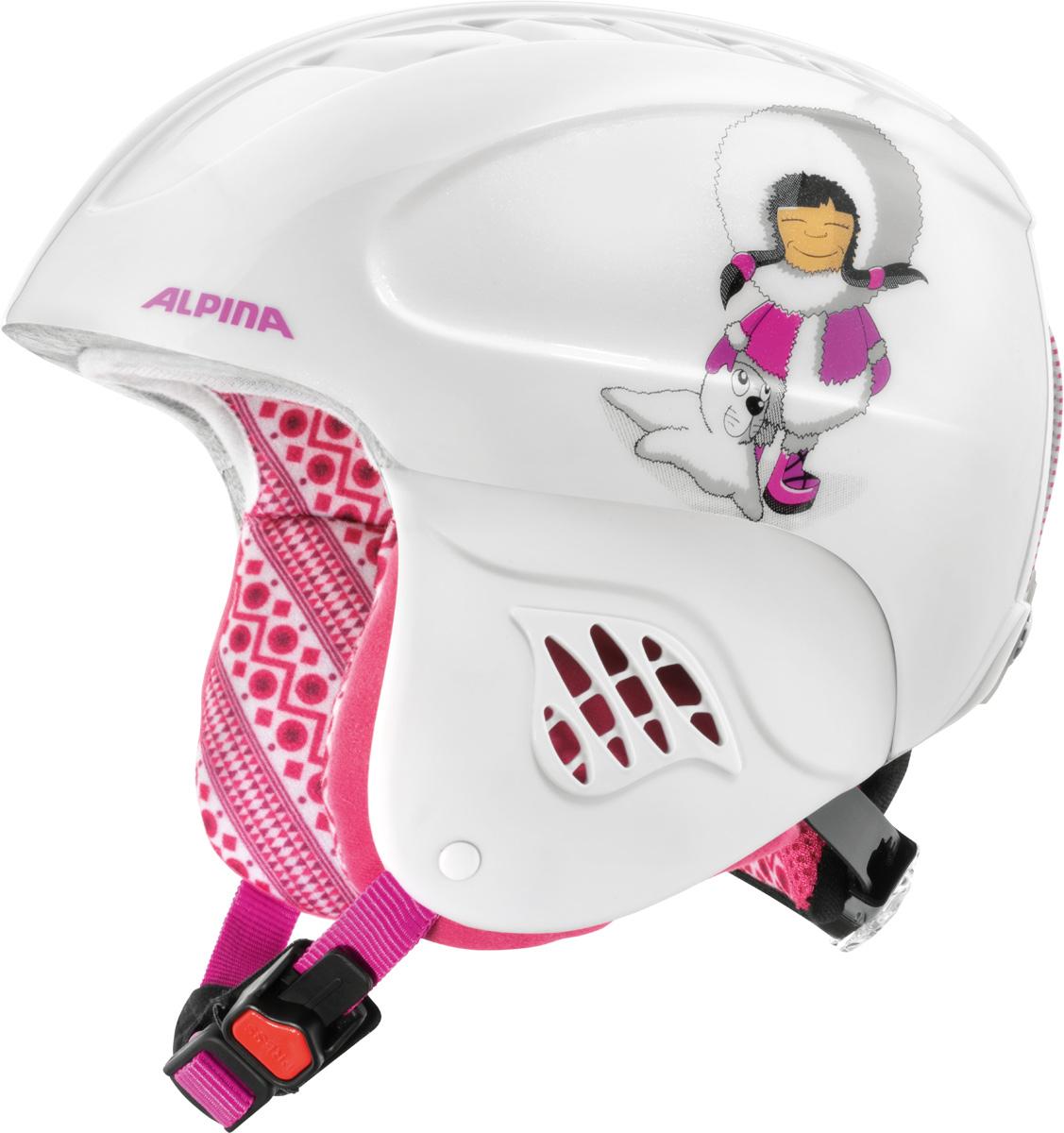 Шлем горнолыжный детский Alpina Carat, цвет: белый, розовый. A9035_27. Размер 51-55A9035_27Дети считают, что главное это внешний вид. У родителей защита в приоритете. Эта модель Alpina Carat идеально удовлетворяет требованиям обоих поколений.Технологии: Inmold Tec – технология соединения внутренней и внешней части шлема при помощи высокой температуры. Данный метод делает соединение исключительно прочным, а сам шлем легким. Такой метод соединения гораздо надежнее и безопаснее обычного склеивания.Ceramic – особая технология производства внешней оболочки шлема. Используются легковесные материалы экстремально прочные и устойчивые к царапинам. Возможно использование при сильном УФ изучении, так же поверхность имеет антистатическое покрытие.Run System – простая система настройки шлема, позволяющая добиться надежной фиксации.Changeable Interior – съемная внутренняя часть. Допускается стирка в теплой мыльной воде.Neckwarmer – дополнительное утепление шеи. Изготовлено из мягкого флиса.Venting System – особые вентиляционные отверстия для отведения излишнего тепла и поддержания оптимальной температуры.