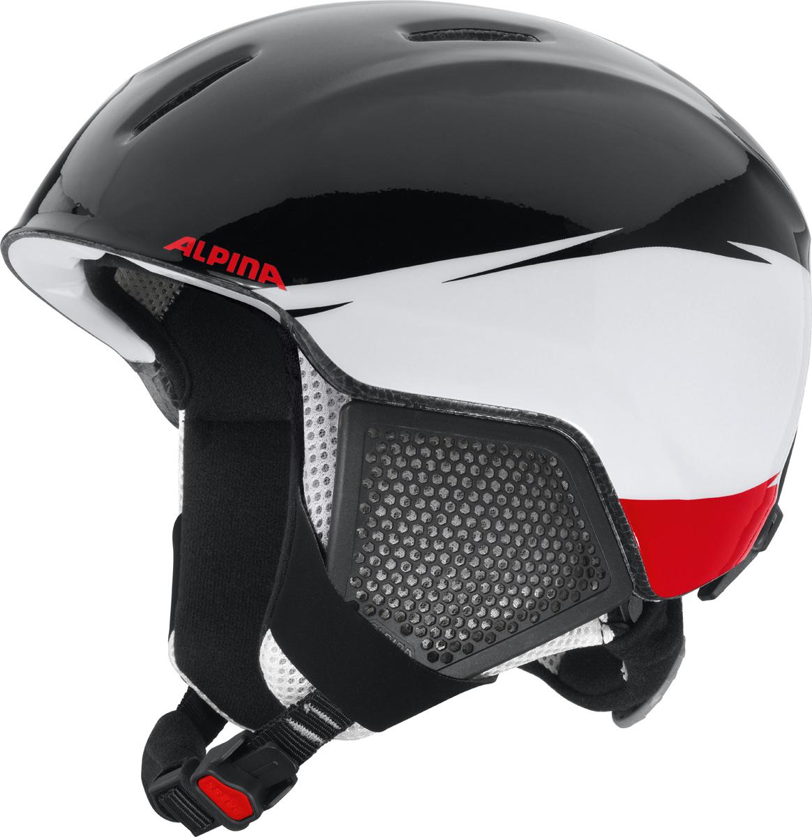 Шлем горнолыжный детский Alpina Carat LX, цвет: черный, белый, красный. A9081_50. Размер 48-52A9081_50Серия детских и подростковых шлемов Carat пополнилась моделью LX. Главным нововведением стало использование перфорации в жестких наушниках, которые по-прежнему обеспечивают высокую степень защиты, но при этом позволяют слышать все вокруг. Вентиляционные отверстия препятствуют перегреву и позволяют поддерживать идеальную температуру внутри шлема. Для этого инженеры Alpina используют эффект Вентури, чтобы сделать циркуляцию воздуха постоянной и максимально эффективной. Внутренник шлема легко вынимается, стирается, сушится и вставляется обратно. Из задней части шлема можно достать шейный утеплитель из мягкого микро-флиса. Этот теплый воротник также защищает шею от ударов на высокой скорости и при сибирских морозах. В удобной конструкции отсутствуют точки давления на шею. Прочная и легкая конструкция In-mold. Тонкая и прочная поликарбонатная оболочка под воздействием высокой температуры и давления буквально сплавляется с гранулами EPS, которые гасят ударную нагрузку. Внутренняя оболочка каждого шлема Alpina состоит из гранул HI-EPS (сильно вспененного полистирола). Микроскопические воздушные карманы эффективно поглощают ударную нагрузку и обеспечивают высокую теплоизоляцию. Эта технология позволяет достичь минимальной толщины оболочки. А так как гранулы HI-EPS не впитывают влагу, их защитный эффект не ослабевает со временем. Удобная и точная система регулировки Run System Ergo Snow позволяет быстро и комфортно подогнать шлем по голове, без создания отдельных точек избыточного давления. Y-образный ремнераспределитель двух ремешков находится под ухом и обеспечивает быструю и точную посадку шлема на голове. Вместо фастекса на ремешке используется красная кнопка с автоматическим запирающим механизмом, которую легко использовать даже в лыжных перчатках. Механизм защищён от произвольного раскрытия при падении.Как выбрать горные лыжи для ребёнка. Статья OZON Гид