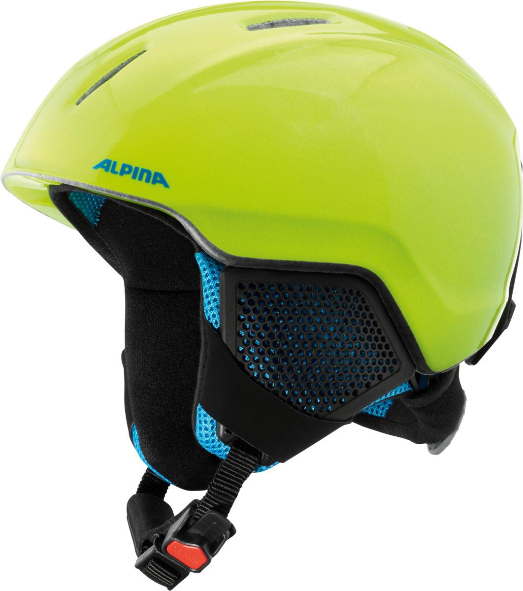 Шлем горнолыжный детский Alpina Carat LX, цвет: желтый. A9081_40. Размер 51-55A9080_70Серия детских и подростковых шлемов Carat пополнилась моделью LX. Главным нововведением стало использование перфорации в жестких наушниках, которые по-прежнему обеспечивают высокую степень защиты, но при этом позволяют слышать все вокруг. Вентиляционные отверстия препятствуют перегреву и позволяют поддерживать идеальную температуру внутри шлема. Для этого инженеры Alpina используют эффект Вентури, чтобы сделать циркуляцию воздуха постоянной и максимально эффективной.Внутренник шлема легко вынимается, стирается, сушится и вставляется обратно.Из задней части шлема можно достать шейный утеплитель из мягкого микро-флиса. Этот теплый воротник также защищает шею от ударов на высокой скорости и при сибирских морозах. В удобной конструкции отсутствуют точки давления на шею.Прочная и легкая конструкция In-mold. Тонкая и прочная поликарбонатная оболочка под воздействием высокой температуры и давления буквально сплавляется с гранулами EPS, которые гасят ударную нагрузку.Внутренняя оболочка каждого шлема Alpina состоит из гранул HI-EPS (сильно вспененного полистирола). Микроскопические воздушные карманы эффективно поглощают ударную нагрузку и обеспечивают высокую теплоизоляцию. Эта технология позволяет достичь минимальной толщины оболочки. А так как гранулы HI-EPS не впитывают влагу, их защитный эффект не ослабевает со временем.Удобная и точная система регулировки Run System Ergo Snow позволяет быстро и комфортно подогнать шлем по голове, без создания отдельных точек избыточного давления.Y-образный ремнераспределитель двух ремешков находится под ухом и обеспечивает быструю и точную посадку шлема на голове.Вместо фастекса на ремешке используется красная кнопка с автоматическим запирающим механизмом, которую легко использовать даже в лыжных перчатках. Механизм защищён от произвольного раскрытия при падении.Как выбрать горные лыжи для ребёнка. Статья OZON Гид