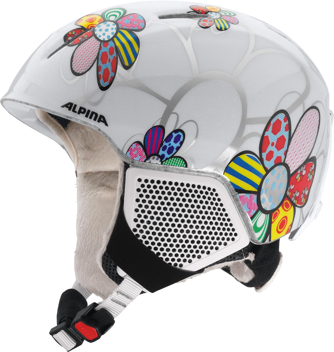 Шлем горнолыжный детский Alpina Carat LX, цвет: белый, розовый. A9081_00. Размер 48-52A9081_00Серия детских и подростковых шлемов Carat пополнилась моделью LX. Главным нововведением стало использование перфорации в жестких наушниках, которые по-прежнему обеспечивают высокую степень защиты, но при этом позволяют слышать все вокруг. Вентиляционные отверстия препятствуют перегреву и позволяют поддерживать идеальную температуру внутри шлема. Для этого инженеры Alpina используют эффект Вентури, чтобы сделать циркуляцию воздуха постоянной и максимально эффективной. Внутренник шлема легко вынимается, стирается, сушится и вставляется обратно. Из задней части шлема можно достать шейный утеплитель из мягкого микро-флиса. Этот теплый воротник также защищает шею от ударов на высокой скорости и при сибирских морозах. В удобной конструкции отсутствуют точки давления на шею. Прочная и легкая конструкция In-mold. Тонкая и прочная поликарбонатная оболочка под воздействием высокой температуры и давления буквально сплавляется с гранулами EPS, которые гасят ударную нагрузку. Внутренняя оболочка каждого шлема Alpina состоит из гранул HI-EPS (сильно вспененного полистирола). Микроскопические воздушные карманы эффективно поглощают ударную нагрузку и обеспечивают высокую теплоизоляцию. Эта технология позволяет достичь минимальной толщины оболочки. А так как гранулы HI-EPS не впитывают влагу, их защитный эффект не ослабевает со временем. Удобная и точная система регулировки Run System Ergo Snow позволяет быстро и комфортно подогнать шлем по голове, без создания отдельных точек избыточного давления. Y-образный ремнераспределитель двух ремешков находится под ухом и обеспечивает быструю и точную посадку шлема на голове. Вместо фастекса на ремешке используется красная кнопка с автоматическим запирающим механизмом, которую легко использовать даже в лыжных перчатках. Механизм защищён от произвольного раскрытия при падении.Как выбрать горные лыжи для ребёнка. Статья OZON Гид