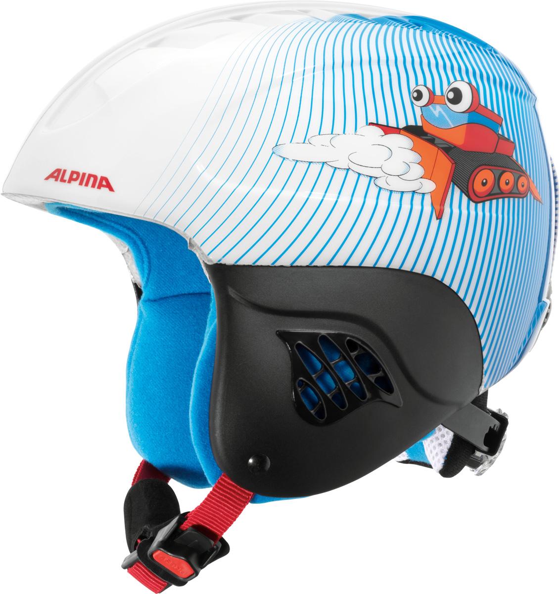 Шлем горнолыжный детский Alpina Carat, цвет: белый, голубой. A9035_88. Размер 48-52A9035_88Дети считают, что главное это внешний вид. У родителей защита в приоритете. Эта модель Alpina Carat идеально удовлетворяет требованиям обоих поколений.Технологии: Inmold Tec – технология соединения внутренней и внешней части шлема при помощи высокой температуры. Данный метод делает соединение исключительно прочным, а сам шлем легким. Такой метод соединения гораздо надежнее и безопаснее обычного склеивания.Ceramic – особая технология производства внешней оболочки шлема. Используются легковесные материалы экстремально прочные и устойчивые к царапинам. Возможно использование при сильном УФ изучении, так же поверхность имеет антистатическое покрытие.Run System – простая система настройки шлема, позволяющая добиться надежной фиксации.Changeable Interior – съемная внутренняя часть. Допускается стирка в теплой мыльной воде.Neckwarmer – дополнительное утепление шеи. Изготовлено из мягкого флиса.Venting System – особые вентиляционные отверстия для отведения излишнего тепла и поддержания оптимальной температуры.