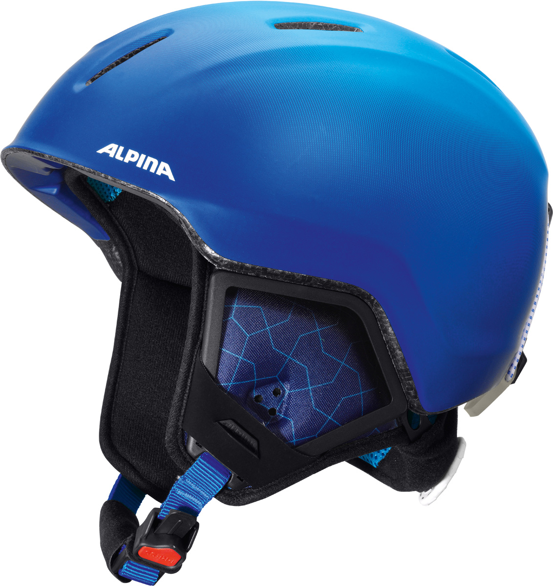 Шлем горнолыжный детский Alpina Carat XT, цвет: синий. A9080_81. Размер 51-55A9080_81Модификация популярнейшего детского горнолыжного шлема Carat с мягкими ушками, которые обеспечивают хорошую вентиляцию и не мешают слуху.Вентиляционные отверстия препятствуют перегреву и позволяют поддерживать идеальную температуру внутри шлема. Для этого инженеры Alpina используют эффект Вентури, чтобы сделать циркуляцию воздуха постоянной и максимально эффективной.Внутренник шлема легко вынимается, стирается, сушится и вставляется обратно.Из задней части шлема можно достать шейный утеплитель из мягкого микро-флиса. Этот теплый воротник также защищает шею от ударов на высокой скорости и при сибирских морозах. В удобной конструкции отсутствуют точки давления на шею.Прочная и легкая конструкция In-mold. Тонкая и прочная поликарбонатная оболочка под воздействием высокой температуры и давления буквально сплавляется с гранулами EPS, которые гасят ударную нагрузку.Внутренная оболочка каждого шлема Alpina состоит из гранул HI-EPS (сильно вспененного полистирола). Микроскопические воздушные карманы эффективно поглощают ударную нагрузку и обеспечивают высокую теплоизоляцию. Эта технология позволяет достичь минимальной толщины оболочки. А так как гранулы HI-EPS не впитывают влагу, их защитный эффект не ослабевает со временем.Удобная и точная система регулировки Run System Ergo Snow позволяет быстро и комфортно подогнать шлем по голове, без создания отдельных точек избыточного давления.Y-образный ремнераспределитель двух ремешков находится под ухом и обеспечивает быструю и точную посадку шлема на голове.Вместо фастекса на ремешке используется красная кнопка с автоматическим запирающим механизмом, которую легко использовать даже в лыжных перчатках. Механизм защищён от произвольного раскрытия при падении.