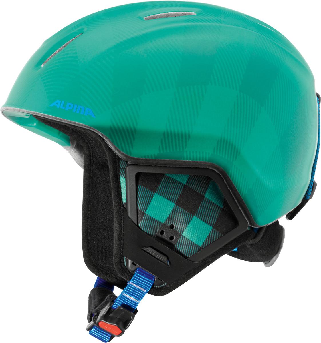 Шлем горнолыжный детский Alpina Carat XT, цвет: зеленый. A9080_70. Размер 51-55A9080_70Модификация популярнейшего детского горнолыжного шлема Carat с мягкими ушками, которые обеспечивают хорошую вентиляцию и не мешают слуху.Вентиляционные отверстия препятствуют перегреву и позволяют поддерживать идеальную температуру внутри шлема. Для этого инженеры Alpina используют эффект Вентури, чтобы сделать циркуляцию воздуха постоянной и максимально эффективной.Внутренник шлема легко вынимается, стирается, сушится и вставляется обратно.Из задней части шлема можно достать шейный утеплитель из мягкого микро-флиса. Этот теплый воротник также защищает шею от ударов на высокой скорости и при сибирских морозах. В удобной конструкции отсутствуют точки давления на шею.Прочная и легкая конструкция In-mold. Тонкая и прочная поликарбонатная оболочка под воздействием высокой температуры и давления буквально сплавляется с гранулами EPS, которые гасят ударную нагрузку.Внутренная оболочка каждого шлема Alpina состоит из гранул HI-EPS (сильно вспененного полистирола). Микроскопические воздушные карманы эффективно поглощают ударную нагрузку и обеспечивают высокую теплоизоляцию. Эта технология позволяет достичь минимальной толщины оболочки. А так как гранулы HI-EPS не впитывают влагу, их защитный эффект не ослабевает со временем.Удобная и точная система регулировки Run System Ergo Snow позволяет быстро и комфортно подогнать шлем по голове, без создания отдельных точек избыточного давления.Y-образный ремнераспределитель двух ремешков находится под ухом и обеспечивает быструю и точную посадку шлема на голове.Вместо фастекса на ремешке используется красная кнопка с автоматическим запирающим механизмом, которую легко использовать даже в лыжных перчатках. Механизм защищён от произвольного раскрытия при падении.
