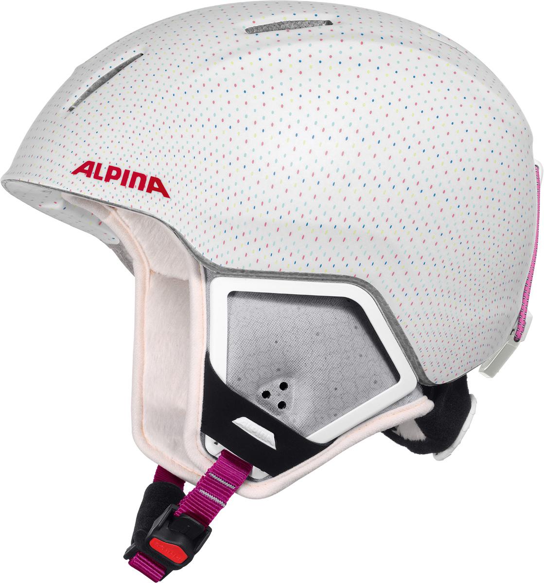 Шлем горнолыжный детский Alpina Carat XT, цвет: белый. A9080_11. Размер 51-55A9080_11Модификация популярнейшего детского горнолыжного шлема Carat с мягкими ушками, которые обеспечивают хорошую вентиляцию и не мешают слуху. Вентиляционные отверстия препятствуют перегреву и позволяют поддерживать идеальную температуру внутри шлема. Для этого инженеры Alpina используют эффект Вентури, чтобы сделать циркуляцию воздуха постоянной и максимально эффективной. Внутренник шлема легко вынимается, стирается, сушится и вставляется обратно. Из задней части шлема можно достать шейный утеплитель из мягкого микро-флиса. Этот теплый воротник также защищает шею от ударов на высокой скорости и при сибирских морозах. В удобной конструкции отсутствуют точки давления на шею. Прочная и легкая конструкция In-mold. Тонкая и прочная поликарбонатная оболочка под воздействием высокой температуры и давления буквально сплавляется с гранулами EPS, которые гасят ударную нагрузку. Внутренная оболочка каждого шлема Alpina состоит из гранул HI-EPS (сильно вспененного полистирола). Микроскопические воздушные карманы эффективно поглощают ударную нагрузку и обеспечивают высокую теплоизоляцию. Эта технология позволяет достичь минимальной толщины оболочки. А так как гранулы HI-EPS не впитывают влагу, их защитный эффект не ослабевает со временем. Удобная и точная система регулировки Run System Ergo Snow позволяет быстро и комфортно подогнать шлем по голове, без создания отдельных точек избыточного давления. Y-образный ремнераспределитель двух ремешков находится под ухом и обеспечивает быструю и точную посадку шлема на голове. Вместо фастекса на ремешке используется красная кнопка с автоматическим запирающим механизмом, которую легко использовать даже в лыжных перчатках. Механизм защищён от произвольного раскрытия при падении.Что взять с собой на горнолыжную прогулку: рассказывают эксперты. Статья OZON Гид