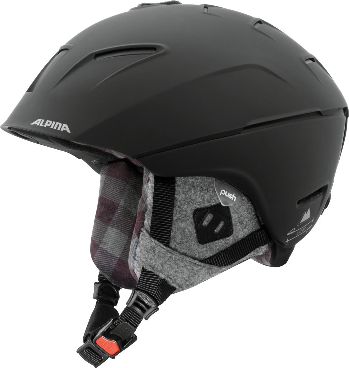 Шлем горнолыжный Alpina Cheos, цвет: черный. A9058_34. Размер 58-61A9058_34Модель сочетает передовые технологии, уникальные характеристики, бескомпромиссную безопасность и исключительный дизайн. Размеры: 52-61 см. Технологии:Hybrid - Нижняя часть шлема состоит из легкого Inmold, что обеспечивает хорошую амортизацию. Верхняя часть - супер-прочный Hardshell.EDGE PROTECT – усиленная нижняя часть шлема, выполненная по технологии Inmold. Дополнительная защита при боковых ударах. RUN SYSTEM – простая система настройки шлема, позволяющая добиться надежной фиксации.AIRSTREAM CONTROL – регулируемые воздушные клапана для полного контроля внутренней вентиляции. REMOVABLE EARPADS - съемные амбушюры добавляют чувства свободы во время катания в теплую погоду, не в ущерб безопасности. При падении температуры, амбушюры легко устанавливаются обратно на шлем.CHANGEABLE INTERIOR – съемная внутренняя часть. Допускается стирка в теплой мыльной воде.NECKWARMER – дополнительное утепление шеи. Изготовлено из мягкого флиса.3D FIT – ремень, позволяющий регулироваться затылочную часть шлема. Пять позиций позволят настроить идеальную посадку.