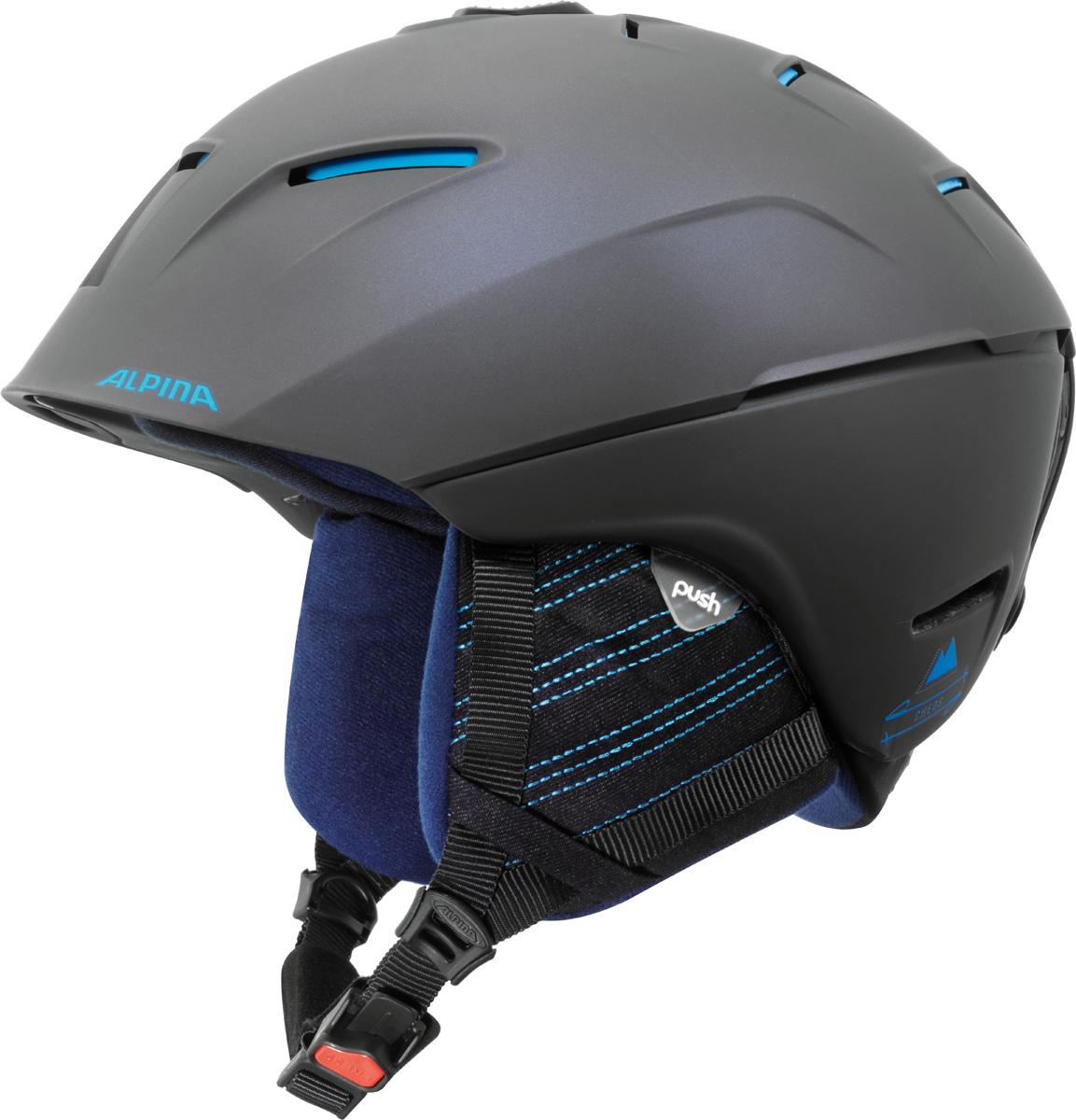 Шлем горнолыжный Alpina Cheos, цвет: темно-синий. A9058_83. Размер 55-59A9058_83Модель сочетает передовые технологии, уникальные характеристики, бескомпромиссную безопасность и исключительный дизайн. Размеры: 52-61 см. Технологии:Hybrid - Нижняя часть шлема состоит из легкого Inmold, что обеспечивает хорошую амортизацию. Верхняя часть - супер-прочный Hardshell.EDGE PROTECT – усиленная нижняя часть шлема, выполненная по технологии Inmold. Дополнительная защита при боковых ударах. RUN SYSTEM – простая система настройки шлема, позволяющая добиться надежной фиксации.AIRSTREAM CONTROL – регулируемые воздушные клапана для полного контроля внутренней вентиляции. REMOVABLE EARPADS - съемные амбушюры добавляют чувства свободы во время катания в теплую погоду, не в ущерб безопасности. При падении температуры, амбушюры легко устанавливаются обратно на шлем.CHANGEABLE INTERIOR – съемная внутренняя часть. Допускается стирка в теплой мыльной воде.NECKWARMER – дополнительное утепление шеи. Изготовлено из мягкого флиса.3D FIT – ремень, позволяющий регулироваться затылочную часть шлема. Пять позиций позволят настроить идеальную посадку.