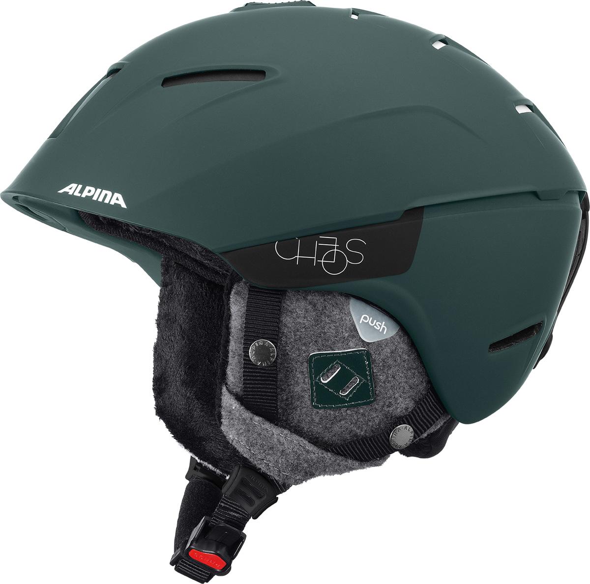 Шлем горнолыжный Alpina CHEOS pine-green matt. Размер 52-56A9058_73Модель сочетает передовые технологии, уникальные характеристики, бескомпромиссную безопасность и исключительный дизайн. Размеры: 52-61 см. Технологии:Hybrid - Нижняя часть шлема состоит из легкого Inmold, что обеспечивает хорошую амортизацию. Верхняя часть - супер-прочный Hardshell.EDGE PROTECT – усиленная нижняя часть шлема, выполненная по технологии Inmold. Дополнительная защита при боковых ударах. RUN SYSTEM – простая система настройки шлема, позволяющая добиться надежной фиксации.AIRSTREAM CONTROL – регулируемые воздушные клапана для полного контроля внутренней вентиляции. REMOVABLE EARPADS - съемные амбушюры добавляют чувства свободы во время катания в теплую погоду, не в ущерб безопасности. При падении температуры, амбушюры легко устанавливаются обратно на шлем.CHANGEABLE INTERIOR – съемная внутренняя часть. Допускается стирка в теплой мыльной воде.NECKWARMER – дополнительное утепление шеи. Изготовлено из мягкого флиса.3D FIT – ремень, позволяющий регулироваться затылочную часть шлема. Пять позиций позволят настроить идеальную посадку.