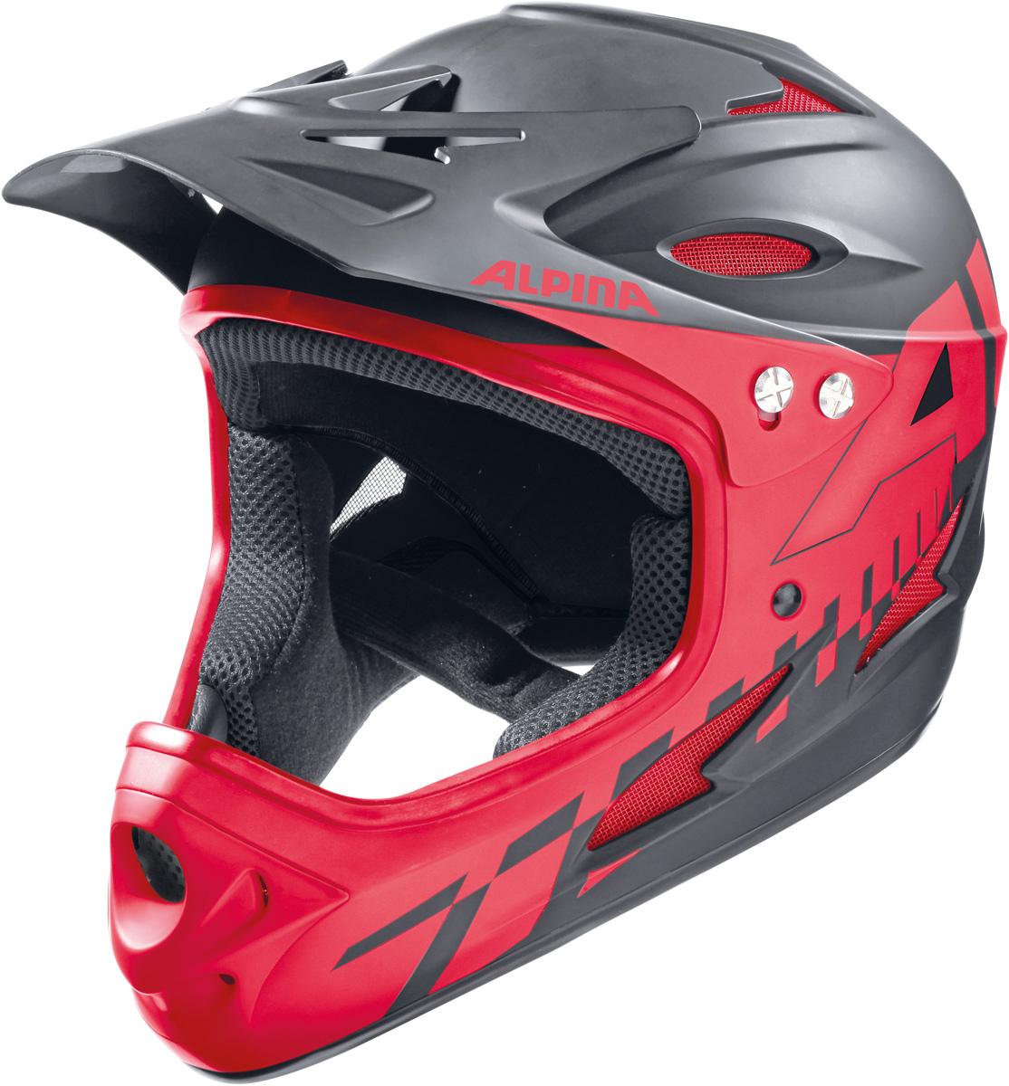 Шлем горнолыжный Alpina Fullface, цвет: черный, красный. A9689_32. Размер 59-60A9058_34Шлем-фуллфейс удовлетворит самые требовательные пожелания относительно защиты лица и головы. Alpina Fullface сертифицирован сразу по двум EN-стандартам: как горнолыжный (EN-1077), и как велосипедный шлем для экстремальных дисциплин (EN-1078). Модель Alpina Fullface является одной из самых легких в своем классе. Характеристики:- Шлем имеет максимально надежную и долговечную Hardshell конструкцию - предварительно отлитая оболочка из ударопрочного пластика ABS прочно соединена с внутренней оболочкой из вспененного полистирола.- Вентиляционные отверстия препятствуют перегреву и позволяют поддерживать идеальную температуру внутри шлема. Для этого инженеры Alpina используют эффект Вентури, чтобы сделать циркуляцию воздуха постоянной и максимально эффективной.- Регулируемый козырек.- Вентиляционные отверстия в передней части шлема снабжены противомоскитной сеткой.- Вместо фастекса на ремешке используется красная кнопка с автоматическим запирающим механизмом, которую легко использовать даже в лыжных перчатках. Механизм защищён от произвольного раскрытия при падении.Что взять с собой на горнолыжную прогулку: рассказывают эксперты. Статья OZON Гид