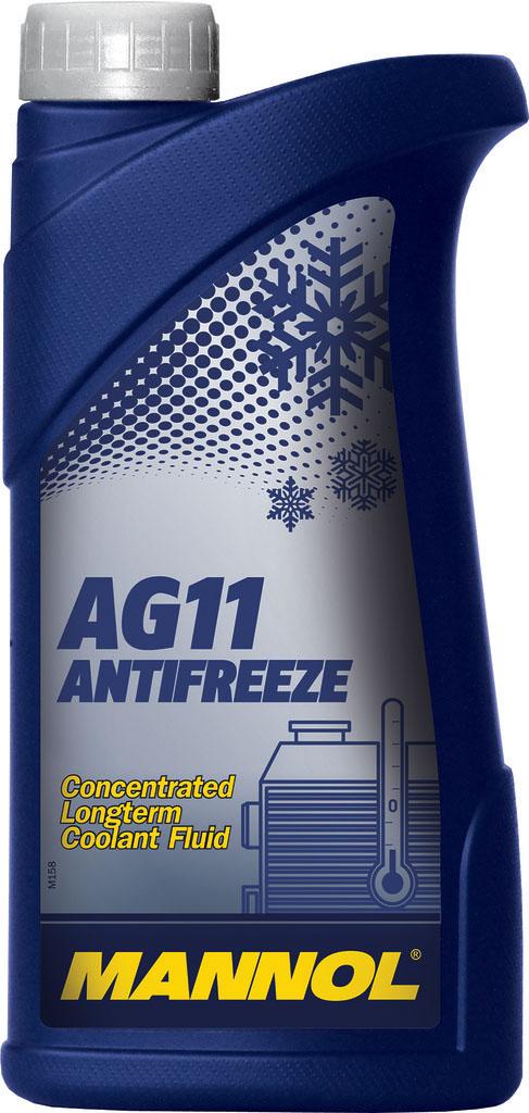 Антифриз MANNOL AG-11 Longterm, концентрат, 1 л2030Антифриз MANNOL AG-11 Longterm – концентрат, предназначенный для круглогодичного использования в любых современных алюминиевых и медных системах охлаждения, для которых рекомендуется применение антифризов на этиленгликолевой основе. Предохраняет от коррозии и накипи. Антифриз не вспенивается, нейтрален к прокладкам и шлангам. Придает достаточные противокоррозионные свойства уже при концентрации от 20 %. Представляет собой силикатную жидкость. Не содержит нитраты и фосфаты. Срок службы: 3 года.