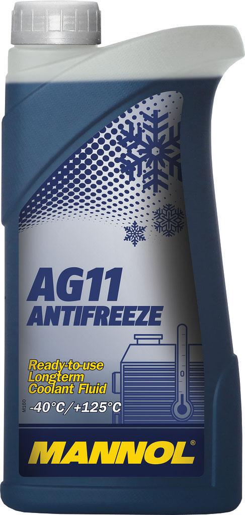 Антифриз MANNOL AG-11 Longterm -40°C, готовый, 1 л2036Mannol Antifreeze AG11 -40°C предназначен для круглогодичного использования в современных алюминиевых и медных системах охлаждения, для которых рекомендуется применение антифризов на этиленгликолевой основе. Предохраняет от коррозии и накипи. Не вспенивается, нейтрален к резиновым и пластиковым деталям системы охлаждения. Представляет собой готовый раствор, не требующий разбавления и защищающий систему охлаждения автомобиля при температуре до -40°С.