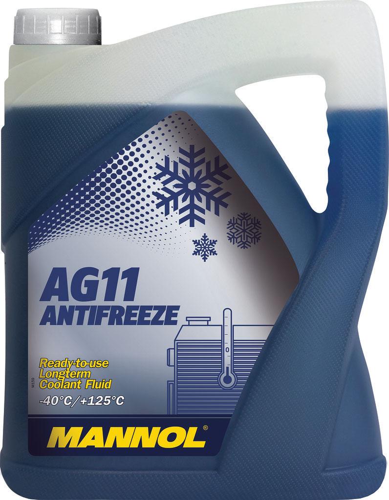 Антифриз MANNOL Longterm AG11 -40°C, готовый, 5 л2037Mannol Antifreeze AG11 -40°C предназначен для круглогодичного использования в современных алюминиевых и медных системах охлаждения, для которых рекомендуется применение антифризов на этиленгликолевой основе. Предохраняет от коррозии и накипи. Не вспенивается, нейтрален к резиновым и пластиковым деталям системы охлаждения. Представляет собой готовый раствор, не требующий разбавления и защищающий систему охлаждения автомобиля при температуре до -40°С.