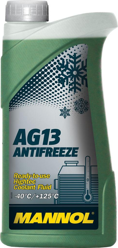 Антифриз MANNOL AG13 Hightec -40°C, 1 л2040Mannol AG13+ Advanced Antifreeze -40°C - готовый раствор, предназначенный для круглогодичного применения в системах охлаждения, для которых рекомендуется автопроизводителем применять антифризы на моноэтиленгликолевой основе. Благодаря высокотехнологичному пакету присадок обеспечивает эффективную защиту системы охлаждения от всех типов коррозии. Не содержит фосфатов, нитритов, аминов. Нейтрален по отношению к следующим металлам и сплавам: латунь, медь, легированная сталь, чугун, алюминий, свинцовые сплавы. Гарантирует надежную защиту системы охлаждения в течение 3 лет.