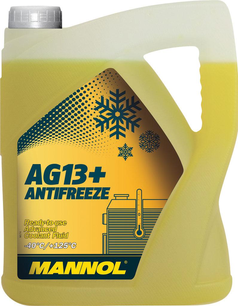 Антифриз MANNOL AG13 -40°C Hightec, готовый, 5 л2041Mannol AG13+ Advanced Antifreeze -40°C - готовый раствор, предназначенный для круглогодичного применения в системах охлаждения, для которых рекомендуется автопроизводителем применять антифризы на моноэтиленгликолевой основе. Благодаря высокотехнологичному пакету присадок обеспечивает эффективную защиту системы охлаждения от всех типов коррозии. Не содержит фосфатов, нитритов, аминов. Нейтрален по отношению к следующим металлам и сплавам: латунь, медь, легированная сталь, чугун, алюминий, свинцовые сплавы. Гарантирует надежную защиту системы охлаждения в течение 3 лет.