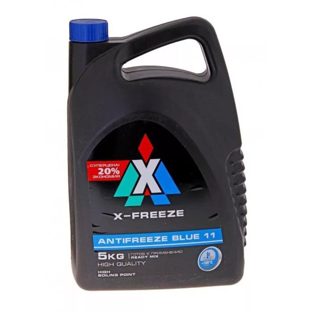 Антифриз X-Freeze Blue, 5 л430206066Антифриз X-FREEZE BLUE 11предназначен для круглогодичного использования в легковых и грузовых автомобилях, спецтехнике. Изготовлен из этиленгликоля с применением антикоррозионных, антиокислительных и смазывающих присадок. Защищает систему охлаждения двигателя от коррозийного воздействия и накипи, предотвращает изнашивание резиновых и пластиковых деталей. Имеет пониженное пенообразование, обладает смазывающим эффектом. Цвет синий.