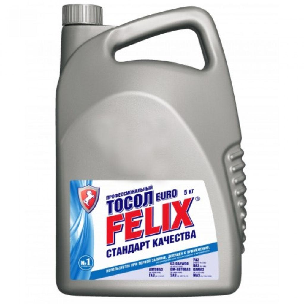 Тосол Felix Euro, 5 л430207016Профессиональный тосол Felix Euro предназначен для использования при температуре окружающей среды до -35°С. Обладает повышенной теплоемкостью, поэтому рекомендуется для использования в летний период и в регионах с жарким климатом.