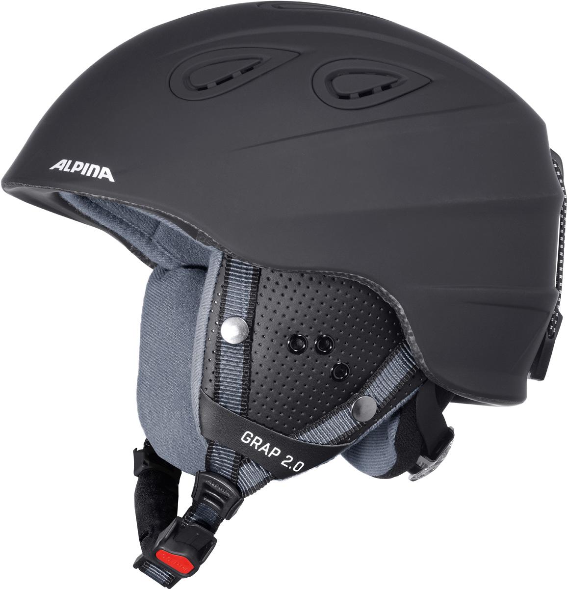 Шлем горнолыжный Alpina Grap 2.0, цвет: черный. A9085_33. Размер 54-57A9085_33Во всем мире популярность горнолыжного шлема Grap лишь набирает обороты. Alpina представляет обновленную версию самой продаваемой модели. Шлем Grap 2.0 сохранил отличительные особенности предыдущей модели и приобрел новые, за которые его выбирают райдеры по всему миру. Универсальность, легкость и прочность сделали его обязательным элементом экипировки любителей горнолыжного спорта. Модель также представлена в детской линейке шлемов. Технологии: Конструкция In-Mold - соединение внутреннего слоя из EPS (вспененного полистирола) с внешним покрытием под большим давлением в условиях высокой температуры. В результате внешняя поликарбонатная оболочка сохраняет форму конструкции, предотвращая поломку и попадание осколков внутрь шлема, а внутренний слой Hi-EPS, состоящий из множества наполненных воздухом гранул, амортизирует ударную волну, защищая голову райдера от повреждений. Внешнее покрытие Ceramic Shell обеспечивает повышенную ударопрочность и износостойкость, а также обладает защитой от УФ-излучений, препятствующей выгоранию на солнце, и антистатичными свойствами. Съемный внутренний тканевый слой. Подкладку можно постирать и легко вставить обратно. Своевременный уход за внутренником предотвращает появление неприятного запаха. Вентиляционная система с раздвижным механизмом с возможностью регулировки интенсивности потока воздуха. Классическая система регулировки в шлемах Alpina Run System с регулировочным кольцом на затылке позволяет быстро и легко подобрать оптимальную и комфортную плотность посадки на голове. Съемные ушки согревают в холодную погоду, а в теплую компактно хранятся в кармане куртки. Шейный воротник из микрофлиса в задней части шлема быстро согревает и не давит на шею. Ремешок фиксируется кнопкой с запирающим механизмом. Застежка максимально удобна для использования в перчатках. Система Edge Protect в конструкции шлема защищает голову горнолыжника при боковом ударе. Система Y-Cl