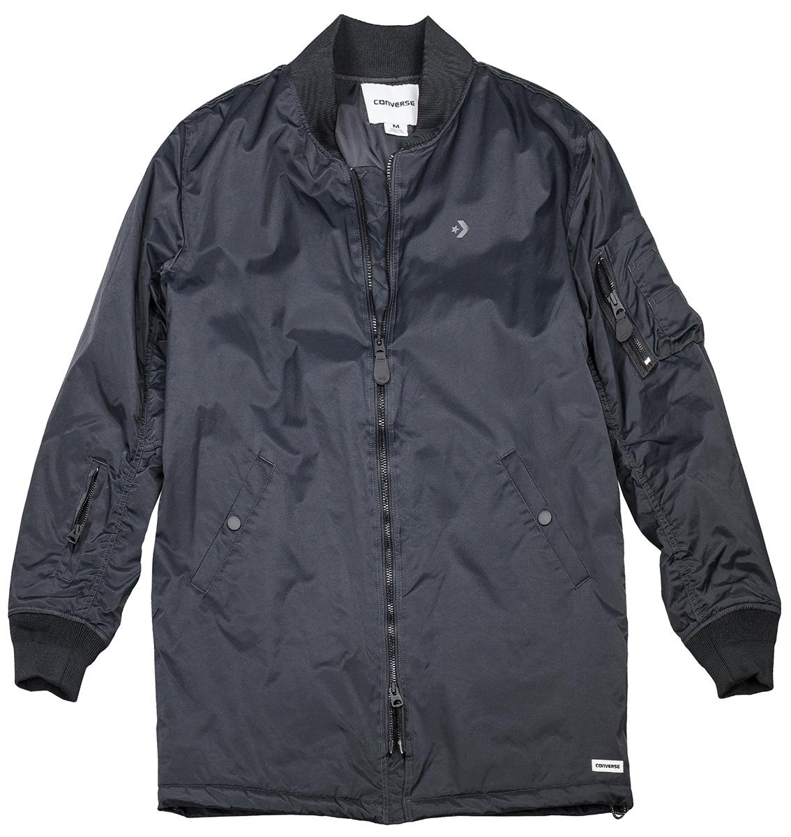 Куртка женская Converse Cons Varsity Coaches Jacket, цвет: черный. 10005114001. Размер XS (44)10005114001Удобная женская зимняя куртка Converse Cons Varsity Coaches Jacket - это сочетание стиля и комфорта, благодаря хлопку, она согреет вас в прохладную погоду, а нейлону, позволит выделиться из толпы. Модель на молнии изготовлена из износоустойчивого материала. Имеет резинки на манжетах и множество карманов.