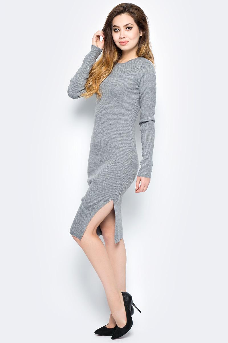 Платье женское Baon, цвет: серый. B457558_Zircon Melange. Размер L (48) платье baon цвет серый b457530 silver melange размер l 48