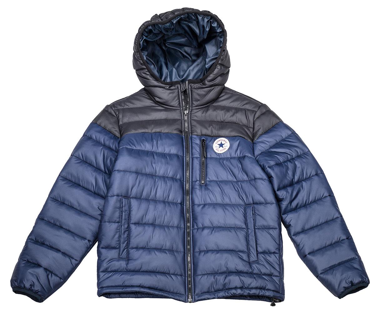 Куртка мужская Converse Core Poly Fill Jacket, цвет: синий. 10004605424. Размер M (48)10004605424Мужская куртка Converse выполнена из 100% нейлона, в качестве утеплителя используется синтепон. Модель с несъемным капюшоном застегивается на молнию. Спереди куртка оснащена двумя накладными карманами по бокам и одним на молнии в области груди. Низ изделия дополнен кулиской.
