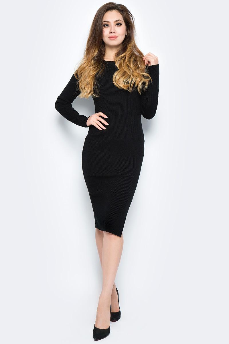 Платье женское Baon, цвет: черный. B457558_Black. Размер M (46)B457558_BlackЭлегантное платье Baon выполнено из вязаного трикотажа с узором в рубчик. Модель облегающего кроя с длинными рукавами отлично садится по фигуре за счет эластичного материала. Для удобства движения сбоку предусмотрен разрез. Лаконичное платье займет достойное место в вашем гардеробе.