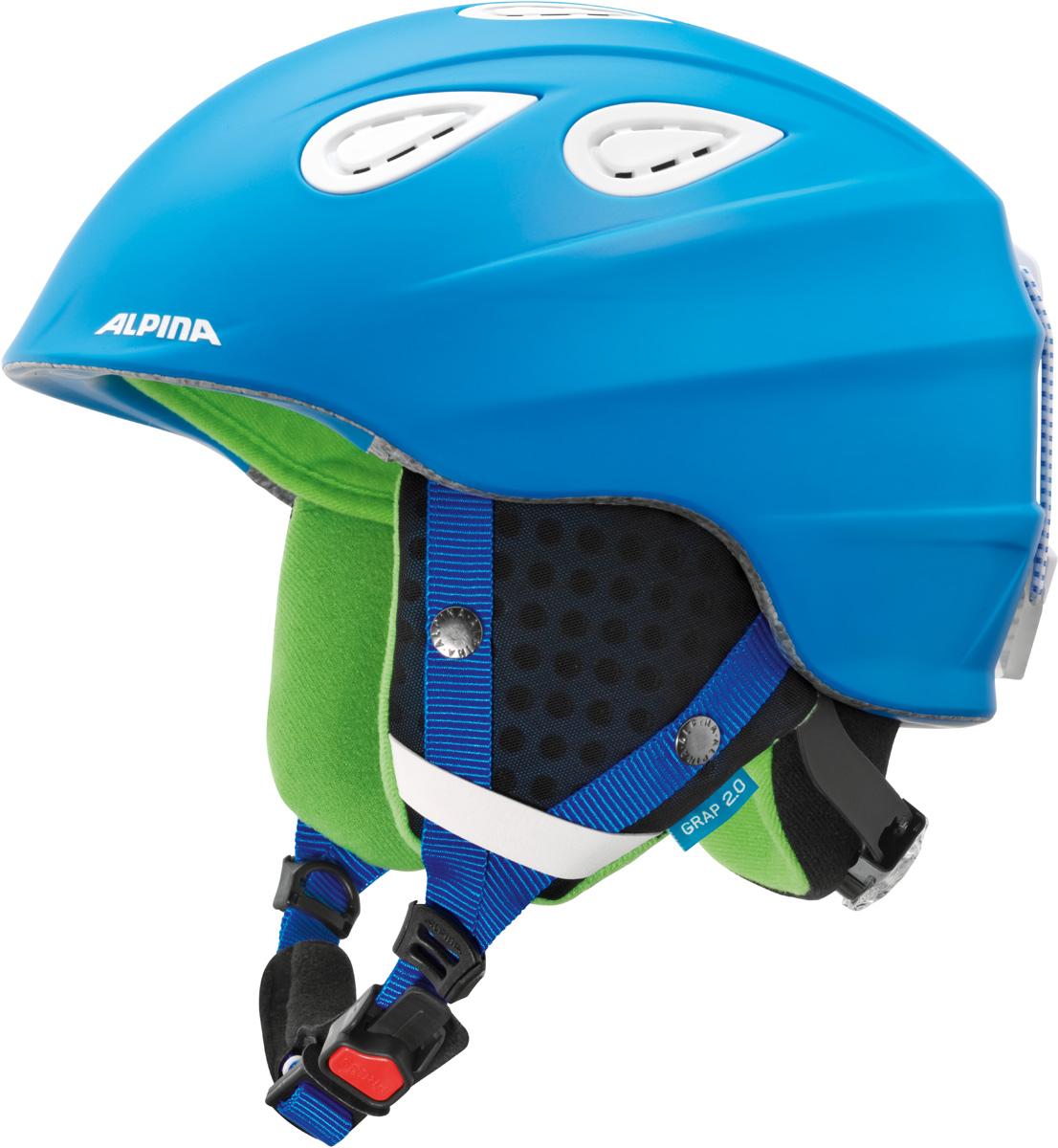 Шлем горнолыжный Alpina Grap 2.0, цвет: синий. A9085_83. Размер 54-57A9085_83Во всем мире популярность горнолыжного шлема Grap лишь набирает обороты. Alpina представляет обновленную версию самой продаваемой модели. Шлем Grap 2.0 сохранил отличительные особенности предыдущей модели и приобрел новые, за которые его выбирают райдеры по всему миру. Универсальность, легкость и прочность сделали его обязательным элементом экипировки любителей горнолыжного спорта. Модель также представлена в детской линейке шлемов. Технологии: Конструкция In-Mold - соединение внутреннего слоя из EPS (вспененного полистирола) с внешним покрытием под большим давлением в условиях высокой температуры. В результате внешняя поликарбонатная оболочка сохраняет форму конструкции, предотвращая поломку и попадание осколков внутрь шлема, а внутренний слой Hi-EPS, состоящий из множества наполненных воздухом гранул, амортизирует ударную волну, защищая голову райдера от повреждений. Внешнее покрытие Ceramic Shell обеспечивает повышенную ударопрочность и износостойкость, а также обладает защитой от УФ-излучений, препятствующей выгоранию на солнце, и антистатичными свойствами. Съемный внутренний тканевый слой. Подкладку можно постирать и легко вставить обратно. Своевременный уход за внутренником предотвращает появление неприятного запаха. Вентиляционная система с раздвижным механизмом с возможностью регулировки интенсивности потока воздуха. Классическая система регулировки в шлемах Alpina Run System с регулировочным кольцом на затылке позволяет быстро и легко подобрать оптимальную и комфортную плотность посадки на голове. Съемные ушки согревают в холодную погоду, а в теплую компактно хранятся в кармане куртки. Шейный воротник из микрофлиса в задней части шлема быстро согревает и не давит на шею. Ремешок фиксируется кнопкой с запирающим механизмом. Застежка максимально удобна для использования в перчатках. Система Edge Protect в конструкции шлема защищает голову горнолыжника при боковом ударе. Система Y-Cli