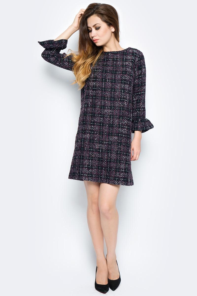 Платье Baon, цвет: черный. B457563_Black Checked. Размер XL (50) кардиган женский baon цвет черный b147505 black размер xl 50