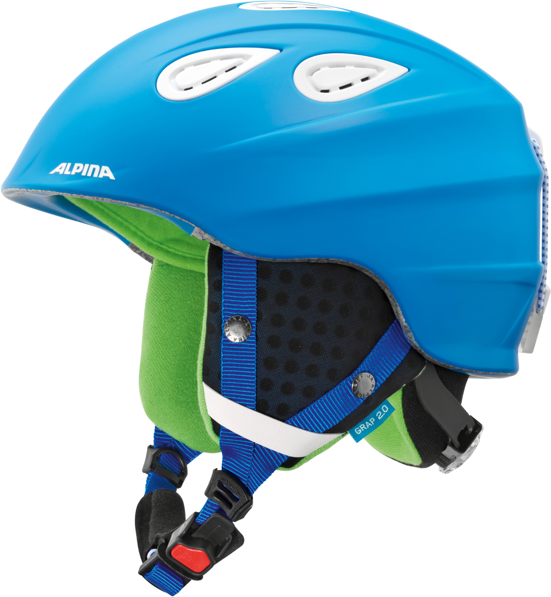 Шлем горнолыжный Alpina Grap 2.0, цвет: синий. A9085_83. Размер 57-61A9085_83Во всем мире популярность горнолыжного шлема Grap лишь набирает обороты. Alpina представляет обновленную версию самой продаваемой модели. Шлем Grap 2.0 сохранил отличительные особенности предыдущей модели и приобрел новые, за которые его выбирают райдеры по всему миру. Универсальность, легкость и прочность сделали его обязательным элементом экипировки любителей горнолыжного спорта. Модель также представлена в детской линейке шлемов.Технологии:Конструкция In-Mold - соединение внутреннего слоя из EPS (вспененного полистирола) с внешним покрытием под большим давлением в условиях высокой температуры. В результате внешняя поликарбонатная оболочка сохраняет форму конструкции, предотвращая поломку и попадание осколков внутрь шлема, а внутренний слой Hi-EPS, состоящий из множества наполненных воздухом гранул, амортизирует ударную волну, защищая голову райдера от повреждений.Внешнее покрытие Ceramic Shell обеспечивает повышенную ударопрочность и износостойкость, а также обладает защитой от УФ-излучений, препятствующей выгоранию на солнце, и антистатичными свойствами.Съемный внутренний тканевый слой. Подкладку можно постирать и легко вставить обратно. Своевременный уход за внутренником предотвращает появление неприятного запаха.Вентиляционная система с раздвижным механизмом с возможностью регулировки интенсивности потока воздуха.Классическая система регулировки в шлемах Alpina Run System с регулировочным кольцом на затылке позволяет быстро и легко подобрать оптимальную и комфортную плотность посадки на голове.Съемные ушки согревают в холодную погоду, а в теплую компактно хранятся в кармане куртки.Шейный воротник из микрофлиса в задней части шлема быстро согревает и не давит на шею.Ремешок фиксируется кнопкой с запирающим механизмом. Застежка максимально удобна для использования в перчатках.Система Edge Protect в конструкции шлема защищает голову горнолыжника при боковом ударе.Система Y-Clip гарантиру
