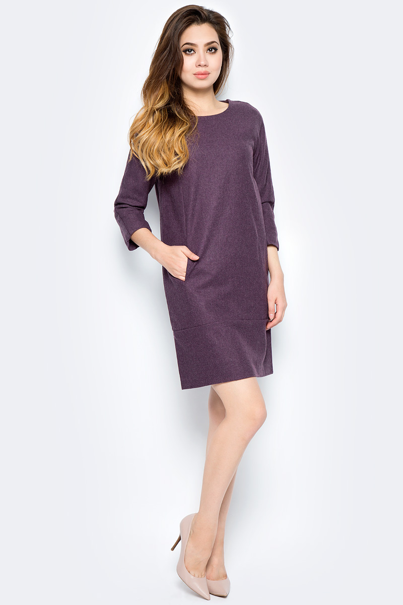 Платье женское Baon, цвет: фиолетовый. B457536_Plum Melange. Размер M (46)B457536_Plum MelangeМодное платье Baon станет отличным дополнением к вашему гардеробу. Модель выполнена из качественного полиэстера с добавлением шерсти. Платье А-силуэта с круглым вырезом горловины и рукавами 3/4 застегивается по спинке на потайную застежку-молнию. Изделие спереди дополнено прорезными кармашками.