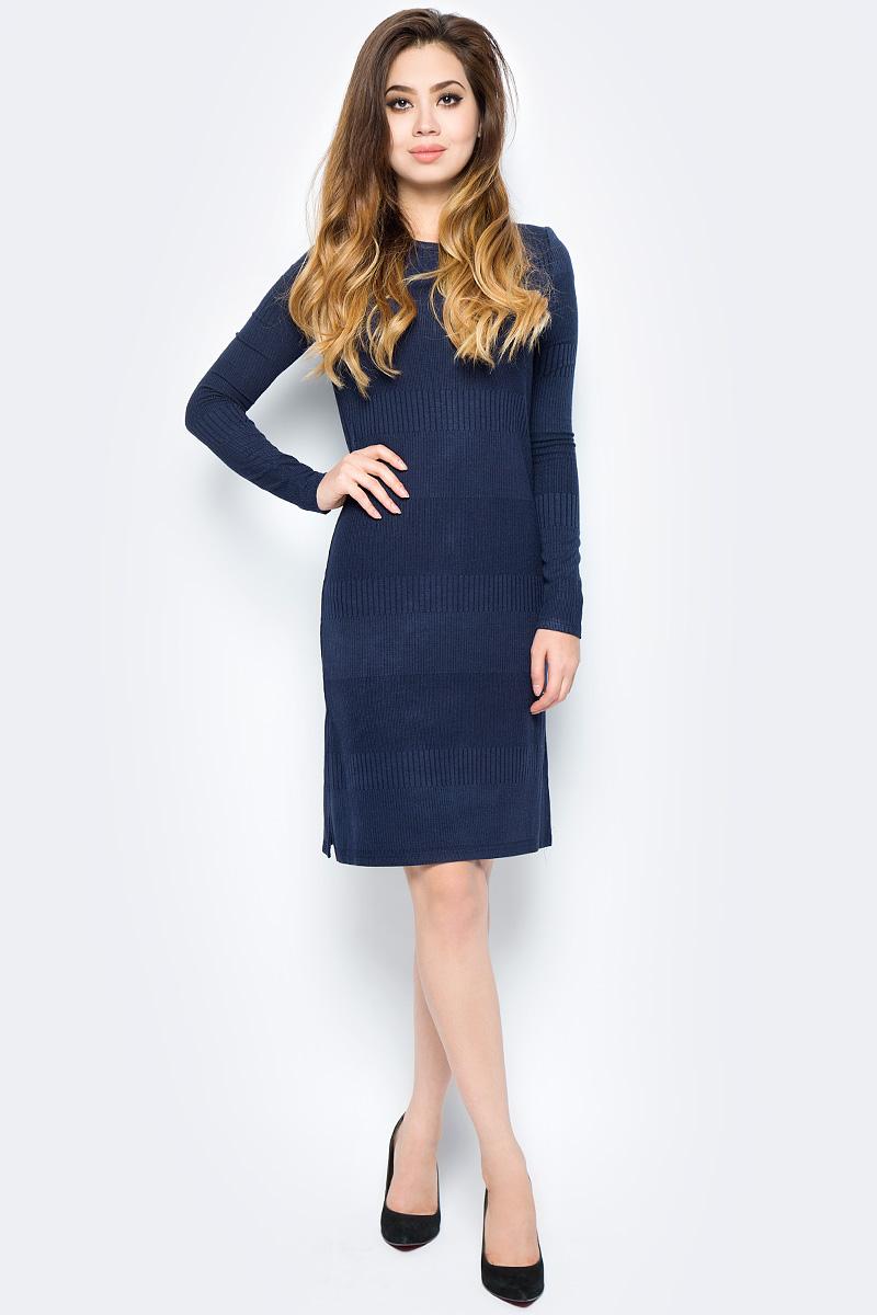 Платье женское Baon, цвет: синий. B457555_Dark Navy. Размер M (46)B457555_Dark NavyСтильное платье Baon выполнено из вязаного трикотажа. Модель облегающего кроя с длинными рукавами и круглым вырезом горловины. Изделие дополнено боковым разрезом. Платье подчеркнет все достоинства вашей фигуры и прекрасно дополнит ваш гардероб.