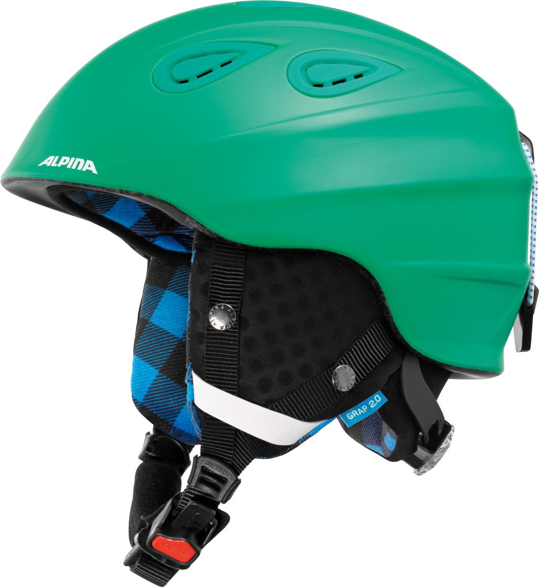 Шлем горнолыжный Alpina Grap 2.0, цвет: зеленый. A9085_72. Размер 54-57A9085_72Во всем мире популярность горнолыжного шлема Grap лишь набирает обороты. Alpina представляет обновленную версию самой продаваемой модели. Шлем Grap 2.0 сохранил отличительные особенности предыдущей модели и приобрел новые, за которые его выбирают райдеры по всему миру. Универсальность, легкость и прочность сделали его обязательным элементом экипировки любителей горнолыжного спорта. Модель также представлена в детской линейке шлемов. Технологии:Конструкция In-Mold - соединение внутреннего слоя из EPS (вспененного полистирола) с внешним покрытием под большим давлением в условиях высокой температуры. В результате внешняя поликарбонатная оболочка сохраняет форму конструкции, предотвращая поломку и попадание осколков внутрь шлема, а внутренний слой Hi-EPS, состоящий из множества наполненных воздухом гранул, амортизирует ударную волну, защищая голову райдера от повреждений.Внешнее покрытие Ceramic Shell обеспечивает повышенную ударопрочность и износостойкость, а также обладает защитой от УФ-излучений, препятствующей выгоранию на солнце, и антистатичными свойствами.Съемный внутренний тканевый слой. Подкладку можно постирать и легко вставить обратно. Своевременный уход за внутренником предотвращает появление неприятного запаха.Вентиляционная система с раздвижным механизмом с возможностью регулировки интенсивности потока воздуха.Классическая система регулировки в шлемах Alpina Run System с регулировочным кольцом на затылке позволяет быстро и легко подобрать оптимальную и комфортную плотность посадки на голове.Съемные ушки согревают в холодную погоду, а в теплую компактно хранятся в кармане куртки.Шейный воротник из микрофлиса в задней части шлема быстро согревает и не давит на шею.Ремешок фиксируется кнопкой с запирающим механизмом. Застежка максимально удобна для использования в перчатках.Система Edge Protect в конструкции шлема защищает голову горнолыжника при боковом ударе.Система Y-Clip гарант