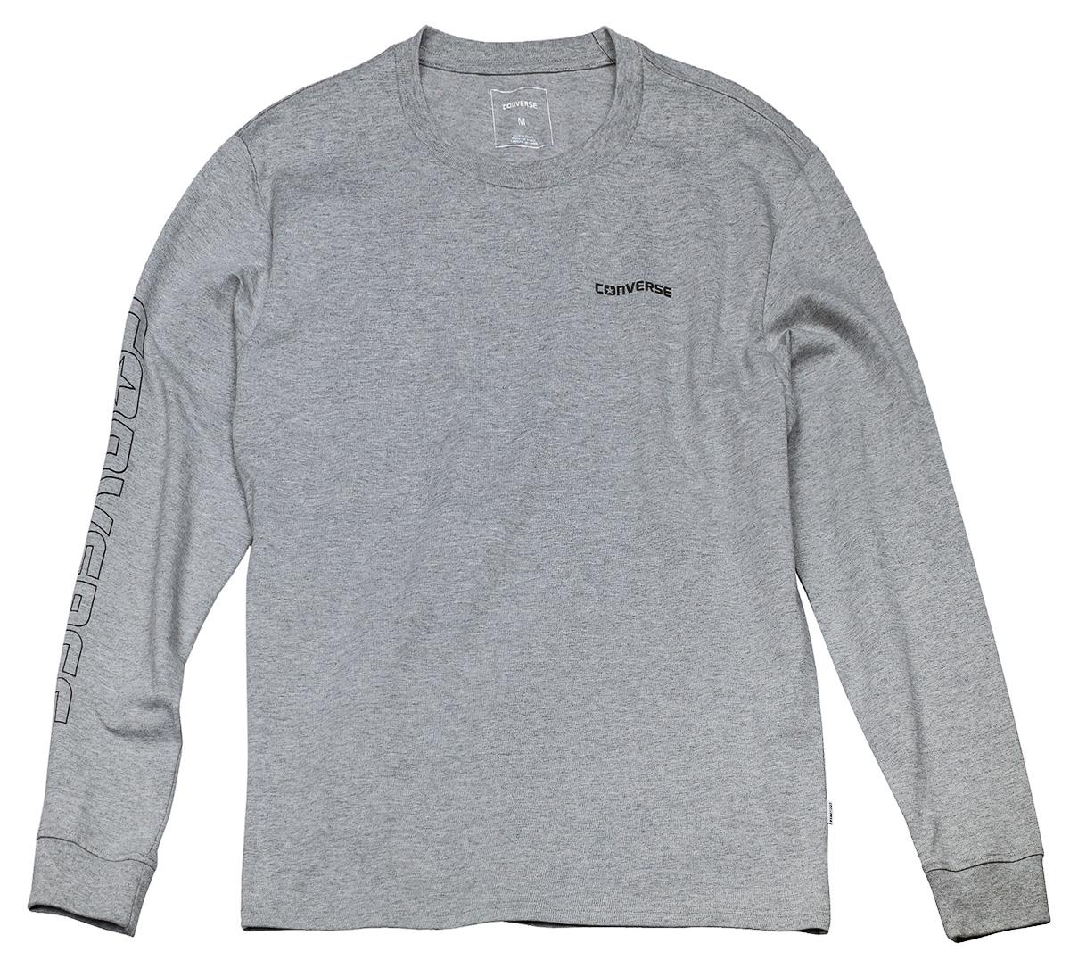 Лонгслив мужской Converse LS Graphic Wordmark Tee, цвет: серый. 10004707035. Размер L (50)10004707035Мужской лонгслив Converse изготовленный из натурального хлопка, станет отличным дополнением к вашему гардеробу. Материал изделия очень мягкий и приятный на ощупь, не сковывает движения и позволяет коже дышать, обеспечивая комфорт. Модель с круглым вырезом горловины.Современный дизайн и расцветка делают этот лонгслив стильным предметом мужской одежды. Такая модель подарит вам комфорт в течение всего дня.