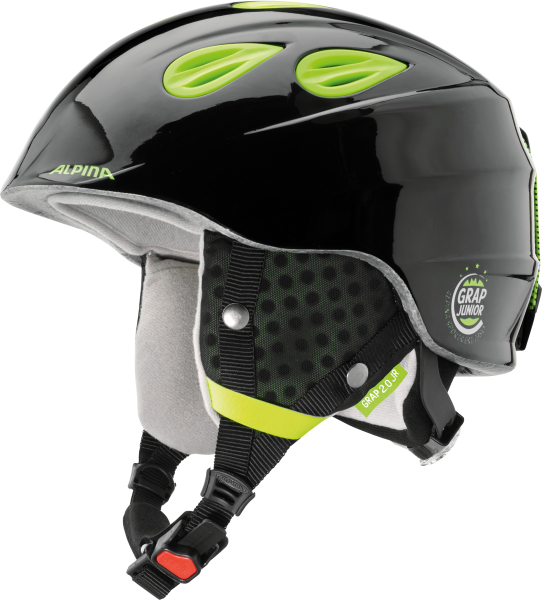 Шлем горнолыжный Alpina Grap 2.0 JR, цвет: черный, желтый. A9086_35. Размер 51-54A9086_35Детская версия популярнейшего шлема Alpina Grap 2.0, сохранившая все технические преимущества взрослой модели.Технологии:Конструкция In-Mold - соединение внутреннего слоя из EPS (вспененного полистирола) с внешним покрытием под большим давлением в условиях высокой температуры. В результате внешняя поликарбонатная оболочка сохраняет форму конструкции, предотвращая поломку и попадание осколков внутрь шлема, а внутренний слой Hi-EPS, состоящий из множества наполненных воздухом гранул, амортизирует ударную волну, защищая голову райдера от повреждений.Внешнее покрытие Ceramic Shell обеспечивает повышенную ударопрочность и износостойкость, а также обладает защитой от УФ-излучений, препятствующей выгоранию на солнце, и антистатичными свойствами.Съемный внутренний тканевый слой. Подкладку можно постирать и легко вставить обратно. Своевременный уход за внутренником предотвращает появление неприятного запаха.Вентиляционная система с раздвижным механизмом с возможностью регулировки интенсивности потока воздуха.Классическая система регулировки в шлемах Alpina Run System с регулировочным кольцом на затылке позволяет быстро и легко подобрать оптимальную и комфортную плотность посадки на голове.Съемные ушки согревают в холодную погоду, а в теплую компактно хранятся в кармане куртки.Шейный воротник из микрофлиса в задней части шлема быстро согревает и не давит на шею.Ремешок фиксируется кнопкой с запирающим механизмом. Застежка максимально удобна для использования в перчатках.Система Edge Protect в конструкции шлема защищает голову горнолыжника при боковом ударе.Система Y-Clip гарантирует оптимальную посадку с миллиметровой точностью. Y-зажим соединяет два ремешка вместе и удобно фиксирует их под ухом.Съемные элементы позволяют использовать шлем всесезонно.