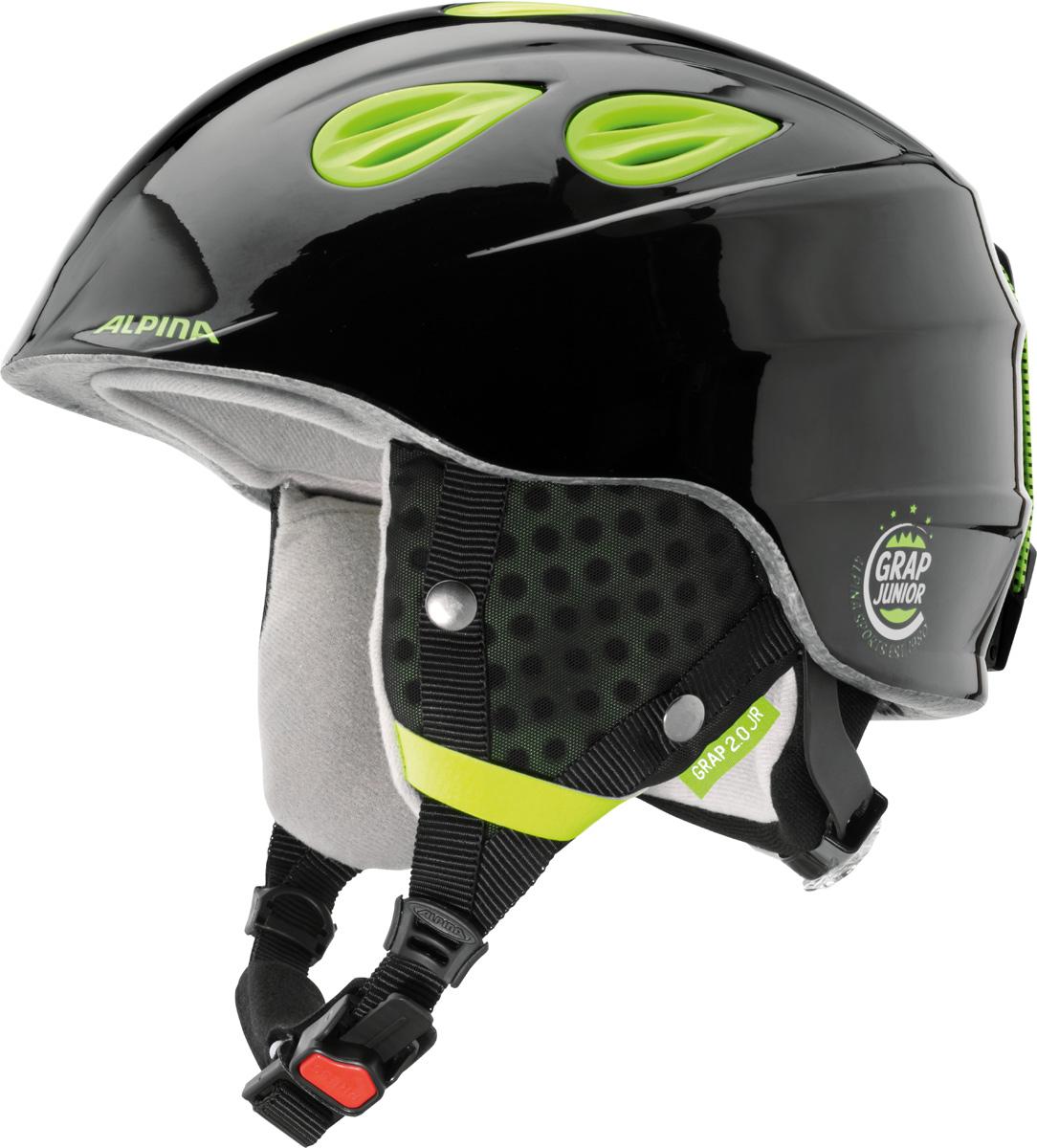 Шлем горнолыжный Alpina Grap 2.0 JR, цвет: черный, желтый. A9086_35. Размер 54-57A9086_35Детская версия популярнейшего шлема Alpina Grap 2.0, сохранившая все технические преимущества взрослой модели. Технологии: Конструкция In-Mold - соединение внутреннего слоя из EPS (вспененного полистирола) с внешним покрытием под большим давлением в условиях высокой температуры. В результате внешняя поликарбонатная оболочка сохраняет форму конструкции, предотвращая поломку и попадание осколков внутрь шлема, а внутренний слой Hi-EPS, состоящий из множества наполненных воздухом гранул, амортизирует ударную волну, защищая голову райдера от повреждений. Внешнее покрытие Ceramic Shell обеспечивает повышенную ударопрочность и износостойкость, а также обладает защитой от УФ-излучений, препятствующей выгоранию на солнце, и антистатичными свойствами. Съемный внутренний тканевый слой. Подкладку можно постирать и легко вставить обратно. Своевременный уход за внутренником предотвращает появление неприятного запаха. Вентиляционная система с раздвижным механизмом с возможностью регулировки интенсивности потока воздуха. Классическая система регулировки в шлемах Alpina Run System с регулировочным кольцом на затылке позволяет быстро и легко подобрать оптимальную и комфортную плотность посадки на голове. Съемные ушки согревают в холодную погоду, а в теплую компактно хранятся в кармане куртки. Шейный воротник из микрофлиса в задней части шлема быстро согревает и не давит на шею. Ремешок фиксируется кнопкой с запирающим механизмом. Застежка максимально удобна для использования в перчатках. Система Edge Protect в конструкции шлема защищает голову горнолыжника при боковом ударе. Система Y-Clip гарантирует оптимальную посадку с миллиметровой точностью. Y-зажим соединяет два ремешка вместе и удобно фиксирует их под ухом. Съемные элементы позволяют использовать шлем всесезонно.Что взять с собой на горнолыжную прогулку: рассказывают эксперты. Статья OZON Гид