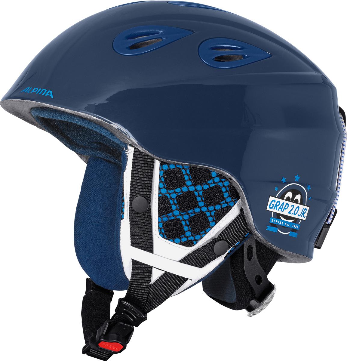 Шлем горнолыжный Alpina Grap 2.0 JR, цвет: темно-синий. A9086_81. Размер 51-54A9086_81Детская версия популярнейшего шлема Alpina Grap 2.0, сохранившая все технические преимущества взрослой модели. Технологии: Конструкция In-Mold - соединение внутреннего слоя из EPS (вспененного полистирола) с внешним покрытием под большим давлением в условиях высокой температуры. В результате внешняя поликарбонатная оболочка сохраняет форму конструкции, предотвращая поломку и попадание осколков внутрь шлема, а внутренний слой Hi-EPS, состоящий из множества наполненных воздухом гранул, амортизирует ударную волну, защищая голову райдера от повреждений. Внешнее покрытие Ceramic Shell обеспечивает повышенную ударопрочность и износостойкость, а также обладает защитой от УФ-излучений, препятствующей выгоранию на солнце, и антистатичными свойствами. Съемный внутренний тканевый слой. Подкладку можно постирать и легко вставить обратно. Своевременный уход за внутренником предотвращает появление неприятного запаха. Вентиляционная система с раздвижным механизмом с возможностью регулировки интенсивности потока воздуха. Классическая система регулировки в шлемах Alpina Run System с регулировочным кольцом на затылке позволяет быстро и легко подобрать оптимальную и комфортную плотность посадки на голове. Съемные ушки согревают в холодную погоду, а в теплую компактно хранятся в кармане куртки. Шейный воротник из микрофлиса в задней части шлема быстро согревает и не давит на шею. Ремешок фиксируется кнопкой с запирающим механизмом. Застежка максимально удобна для использования в перчатках. Система Edge Protect в конструкции шлема защищает голову горнолыжника при боковом ударе. Система Y-Clip гарантирует оптимальную посадку с миллиметровой точностью. Y-зажим соединяет два ремешка вместе и удобно фиксирует их под ухом. Съемные элементы позволяют использовать шлем всесезонно.Как выбрать горные лыжи для ребёнка. Статья OZON Гид