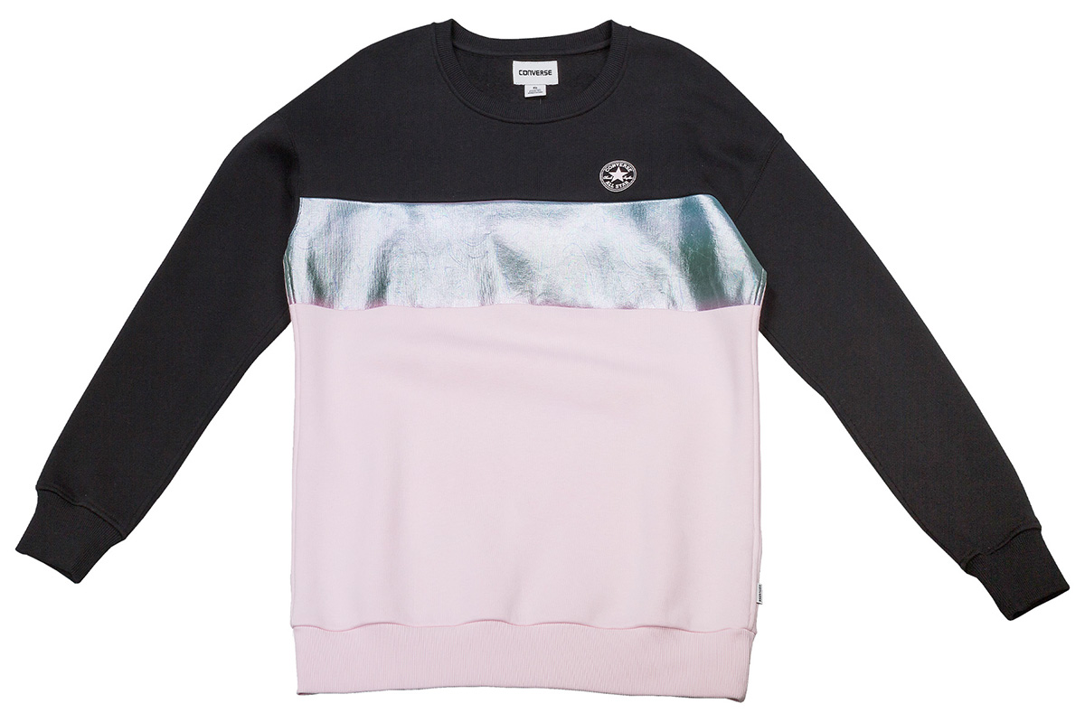 Толстовка женская Converse Shine Pack Blocked Oversized Crew, цвет: черный, розовый. 10004851. Размер M (46)10004851