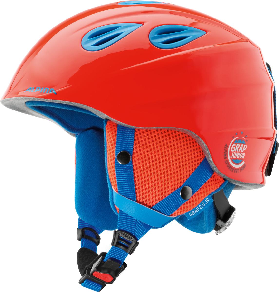 Шлем горнолыжный Alpina Grap 2.0 JR, цвет: красный. A9086_40. Размер 51-54A9086_40Детская версия популярнейшего шлема Alpina Grap 2.0, сохранившая все технические преимущества взрослой модели.Технологии:Конструкция In-Mold - соединение внутреннего слоя из EPS (вспененного полистирола) с внешним покрытием под большим давлением в условиях высокой температуры. В результате внешняя поликарбонатная оболочка сохраняет форму конструкции, предотвращая поломку и попадание осколков внутрь шлема, а внутренний слой Hi-EPS, состоящий из множества наполненных воздухом гранул, амортизирует ударную волну, защищая голову райдера от повреждений.Внешнее покрытие Ceramic Shell обеспечивает повышенную ударопрочность и износостойкость, а также обладает защитой от УФ-излучений, препятствующей выгоранию на солнце, и антистатичными свойствами.Съемный внутренний тканевый слой. Подкладку можно постирать и легко вставить обратно. Своевременный уход за внутренником предотвращает появление неприятного запаха.Вентиляционная система с раздвижным механизмом с возможностью регулировки интенсивности потока воздуха.Классическая система регулировки в шлемах Alpina Run System с регулировочным кольцом на затылке позволяет быстро и легко подобрать оптимальную и комфортную плотность посадки на голове.Съемные ушки согревают в холодную погоду, а в теплую компактно хранятся в кармане куртки.Шейный воротник из микрофлиса в задней части шлема быстро согревает и не давит на шею.Ремешок фиксируется кнопкой с запирающим механизмом. Застежка максимально удобна для использования в перчатках.Система Edge Protect в конструкции шлема защищает голову горнолыжника при боковом ударе.Система Y-Clip гарантирует оптимальную посадку с миллиметровой точностью. Y-зажим соединяет два ремешка вместе и удобно фиксирует их под ухом.Съемные элементы позволяют использовать шлем всесезонно.