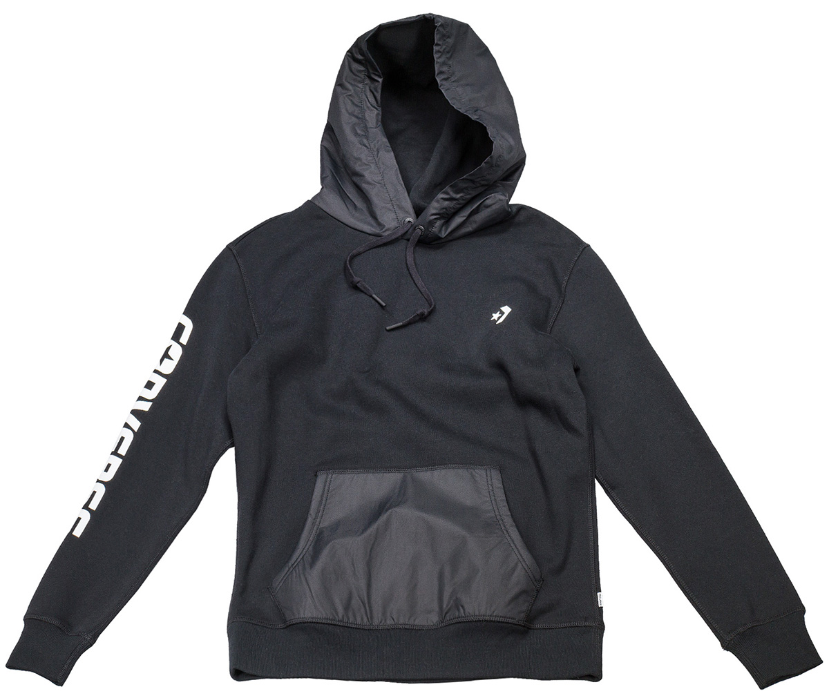 Толстовка мужская Converse Converse Mixed Media Pullover Hoodie, цвет: черный, серый. 10004640001. Размер XL (52) толстовка женская converse core full zip hoodie цвет синий 10002089414 размер xl 50