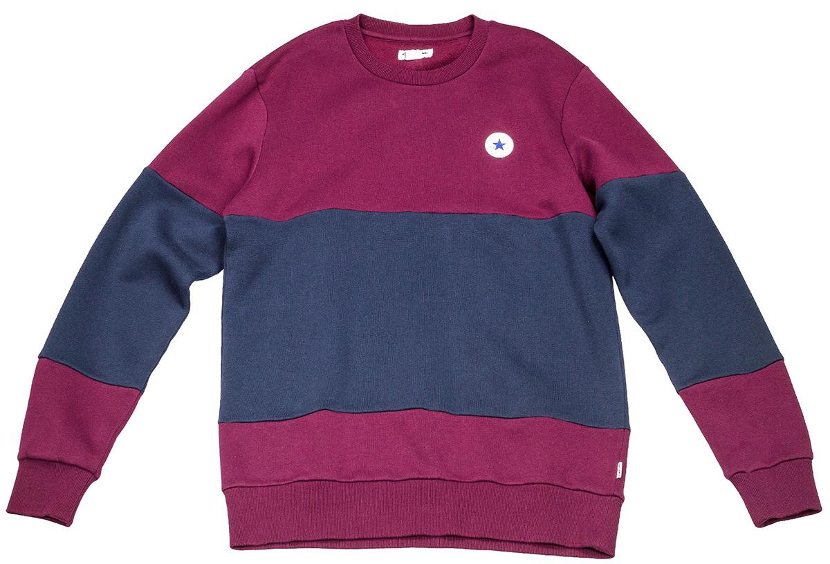 Толстовка мужская Converse Core Colorblock Crew, цвет: бордовый, синий. 10004630262. Размер L (50) юбка colorblock