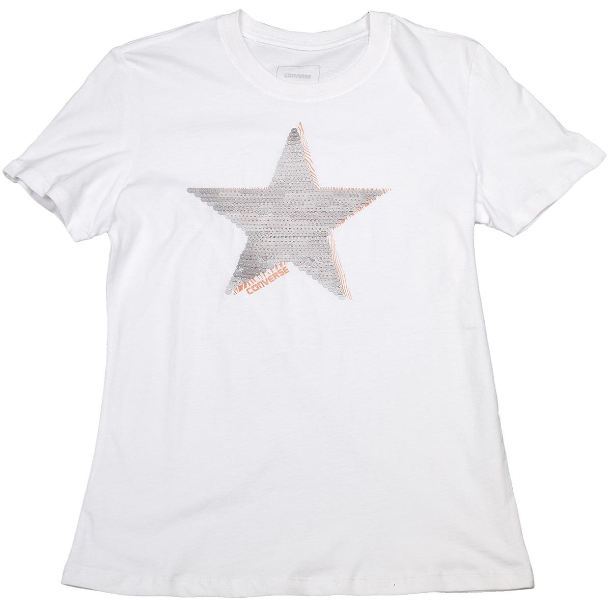 Футболка женская Converse Matte Sequin Star Crew Tee, цвет: белый. 10004652102. Размер S (44)10004652102Стильная женская футболка Converse, выполненная из высококачественного материала, прекрасно подойдет для активного отдыха и занятий спортом.Модель с короткими рукавами и круглым вырезом горловины - идеальный вариант для создания образа в спортивном стиле. Такая модель подарит вам комфорт в течение всего дня и послужит замечательным дополнением к вашему гардеробу.