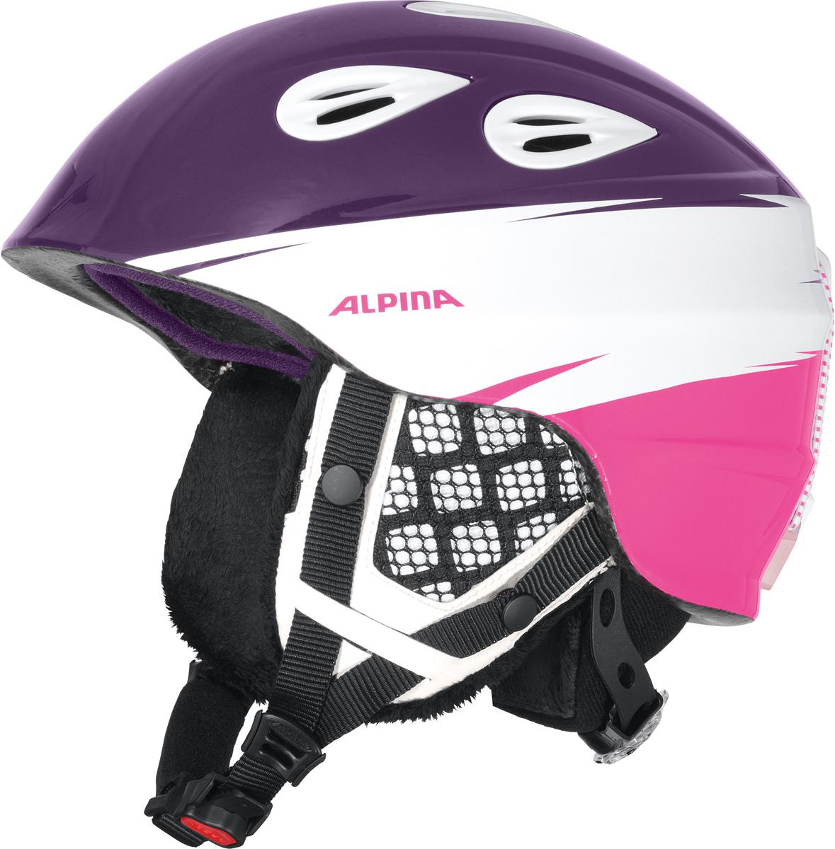 Шлем горнолыжный Alpina Grap 2.0 JR, цвет: розовый, фиолетовый. A9086_56. Размер 51-54A9086_56Детская версия популярнейшего шлема Alpina Grap 2.0, сохранившая все технические преимущества взрослой модели.Технологии:Конструкция In-Mold - соединение внутреннего слоя из EPS (вспененного полистирола) с внешним покрытием под большим давлением в условиях высокой температуры. В результате внешняя поликарбонатная оболочка сохраняет форму конструкции, предотвращая поломку и попадание осколков внутрь шлема, а внутренний слой Hi-EPS, состоящий из множества наполненных воздухом гранул, амортизирует ударную волну, защищая голову райдера от повреждений.Внешнее покрытие Ceramic Shell обеспечивает повышенную ударопрочность и износостойкость, а также обладает защитой от УФ-излучений, препятствующей выгоранию на солнце, и антистатичными свойствами.Съемный внутренний тканевый слой. Подкладку можно постирать и легко вставить обратно. Своевременный уход за внутренником предотвращает появление неприятного запаха.Вентиляционная система с раздвижным механизмом с возможностью регулировки интенсивности потока воздуха.Классическая система регулировки в шлемах Alpina Run System с регулировочным кольцом на затылке позволяет быстро и легко подобрать оптимальную и комфортную плотность посадки на голове.Съемные ушки согревают в холодную погоду, а в теплую компактно хранятся в кармане куртки.Шейный воротник из микрофлиса в задней части шлема быстро согревает и не давит на шею.Ремешок фиксируется кнопкой с запирающим механизмом. Застежка максимально удобна для использования в перчатках.Система Edge Protect в конструкции шлема защищает голову горнолыжника при боковом ударе.Система Y-Clip гарантирует оптимальную посадку с миллиметровой точностью. Y-зажим соединяет два ремешка вместе и удобно фиксирует их под ухом.Съемные элементы позволяют использовать шлем всесезонно.