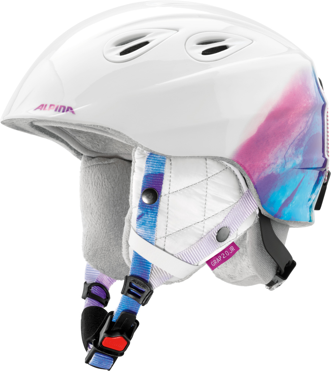 Шлем горнолыжный Alpina Grap 2.0 JR, цвет: белый. A9086_14. Размер 51-54A9086_14Детская версия популярнейшего шлема Alpina Grap 2.0, сохранившая все технические преимущества взрослой модели.Технологии:Конструкция In-Mold - соединение внутреннего слоя из EPS (вспененного полистирола) с внешним покрытием под большим давлением в условиях высокой температуры. В результате внешняя поликарбонатная оболочка сохраняет форму конструкции, предотвращая поломку и попадание осколков внутрь шлема, а внутренний слой Hi-EPS, состоящий из множества наполненных воздухом гранул, амортизирует ударную волну, защищая голову райдера от повреждений.Внешнее покрытие Ceramic Shell обеспечивает повышенную ударопрочность и износостойкость, а также обладает защитой от УФ-излучений, препятствующей выгоранию на солнце, и антистатичными свойствами.Съемный внутренний тканевый слой. Подкладку можно постирать и легко вставить обратно. Своевременный уход за внутренником предотвращает появление неприятного запаха.Вентиляционная система с раздвижным механизмом с возможностью регулировки интенсивности потока воздуха.Классическая система регулировки в шлемах Alpina Run System с регулировочным кольцом на затылке позволяет быстро и легко подобрать оптимальную и комфортную плотность посадки на голове.Съемные ушки согревают в холодную погоду, а в теплую компактно хранятся в кармане куртки.Шейный воротник из микрофлиса в задней части шлема быстро согревает и не давит на шею.Ремешок фиксируется кнопкой с запирающим механизмом. Застежка максимально удобна для использования в перчатках.Система Edge Protect в конструкции шлема защищает голову горнолыжника при боковом ударе.Система Y-Clip гарантирует оптимальную посадку с миллиметровой точностью. Y-зажим соединяет два ремешка вместе и удобно фиксирует их под ухом.Съемные элементы позволяют использовать шлем всесезонно.