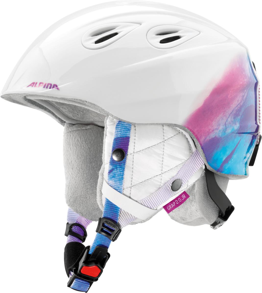 Шлем горнолыжный Alpina Grap 2.0 JR, цвет: белый. A9086_14. Размер 54-57A9086_14Детская версия популярнейшего шлема Alpina Grap 2.0, сохранившая все технические преимущества взрослой модели.Технологии:Конструкция In-Mold - соединение внутреннего слоя из EPS (вспененного полистирола) с внешним покрытием под большим давлением в условиях высокой температуры. В результате внешняя поликарбонатная оболочка сохраняет форму конструкции, предотвращая поломку и попадание осколков внутрь шлема, а внутренний слой Hi-EPS, состоящий из множества наполненных воздухом гранул, амортизирует ударную волну, защищая голову райдера от повреждений.Внешнее покрытие Ceramic Shell обеспечивает повышенную ударопрочность и износостойкость, а также обладает защитой от УФ-излучений, препятствующей выгоранию на солнце, и антистатичными свойствами.Съемный внутренний тканевый слой. Подкладку можно постирать и легко вставить обратно. Своевременный уход за внутренником предотвращает появление неприятного запаха.Вентиляционная система с раздвижным механизмом с возможностью регулировки интенсивности потока воздуха.Классическая система регулировки в шлемах Alpina Run System с регулировочным кольцом на затылке позволяет быстро и легко подобрать оптимальную и комфортную плотность посадки на голове.Съемные ушки согревают в холодную погоду, а в теплую компактно хранятся в кармане куртки.Шейный воротник из микрофлиса в задней части шлема быстро согревает и не давит на шею.Ремешок фиксируется кнопкой с запирающим механизмом. Застежка максимально удобна для использования в перчатках.Система Edge Protect в конструкции шлема защищает голову горнолыжника при боковом ударе.Система Y-Clip гарантирует оптимальную посадку с миллиметровой точностью. Y-зажим соединяет два ремешка вместе и удобно фиксирует их под ухом.Съемные элементы позволяют использовать шлем всесезонно.