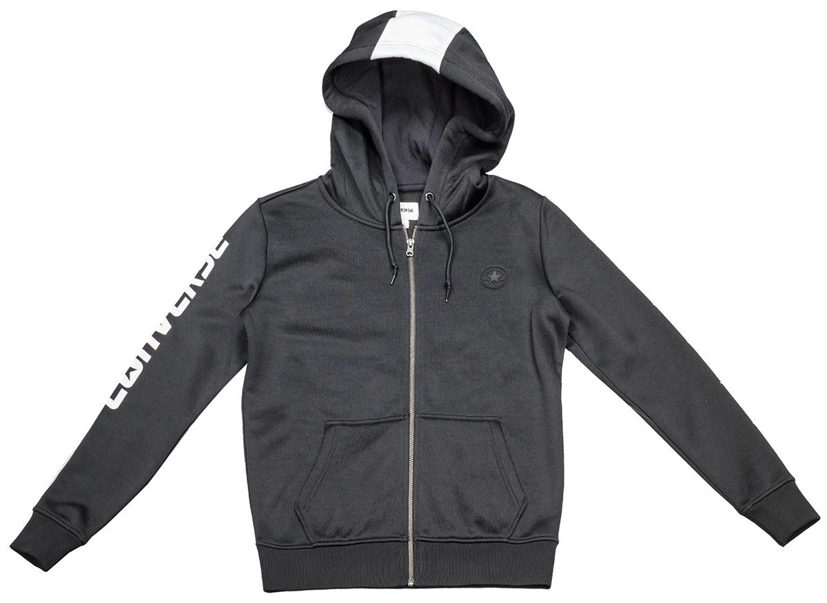 Худи женское Converse Star Print CP Full Zip Hoodie, цвет: черный. 10004493001. Размер XS (42)10004493001