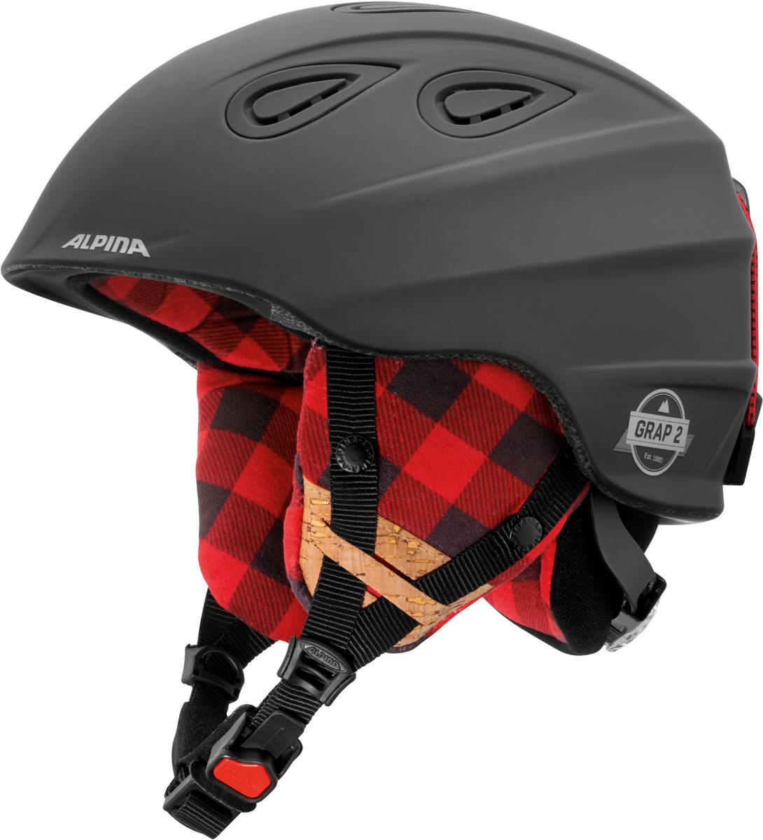 Шлем горнолыжный Alpina Grap 2.0 LE, цвет: черный. A9094_31. Размер 57-61A9094_31Шлем горнолыжный Alpina Grap 2.0 LE - одна из самых популярных моделей в каталоге горнолыжных шлемов Alpina. Надежный, многоцелевой шлем для широкого круга райдеров. L.E. - Limited Edition - ограниченная серия шлемов, выполненная в уникальной расцветке. Интенсивность воздушного потока можно регулировать. Вентиляционные отверстия шлема могут быть открыты и закрыты раздвижным механизмом. Съемные ушки-амбушюры можно снять за секунду и сложить в карман лыжной куртки. Если вы наслаждаетесь катанием в начале апреля, такая возможность должна вас порадовать. А когда температура снова упадет - щелк и вкладыш снова на месте. Внутренник шлема легко вынимается, стирается, сушится и вставляется обратно. Прочная и легкая конструкция In-mold. Тонкая и прочная поликарбонатная оболочка под воздействием высокой температуры и давления буквально сплавляется с гранулами EPS, которые гасят ударную нагрузку. Внутренняя оболочка каждого шлема Alpina состоит из гранул HI-EPS (сильно вспененного полистирола). Микроскопические воздушные карманы эффективно поглощают ударную нагрузку и обеспечивают высокую теплоизоляцию. Эта технология позволяет достичь минимальной толщины оболочки. А так как гранулы HI-EPS не впитывают влагу, их защитный эффект не ослабевает со временем. Из задней части шлема можно достать шейный утеплитель из мягкого микро-флиса. Этот теплый воротник также защищает шею от ударов на высокой скорости и при сибирских морозах. В удобной конструкции отсутствуют точки давления на шею. Вместо фастекса на ремешке используется красная кнопка с автоматическим запирающим механизмом, которую легко использовать даже в лыжных перчатках. Механизм защищен от произвольного раскрытия при падении. Ручка регулировки Run System Classic в задней части шлема позволяет за мгновение комфортно усадить шлем на затылке. Y-образный ремнераспределитель двух ремешков находится под ухом и обеспечивает быструю и точную посадку ш