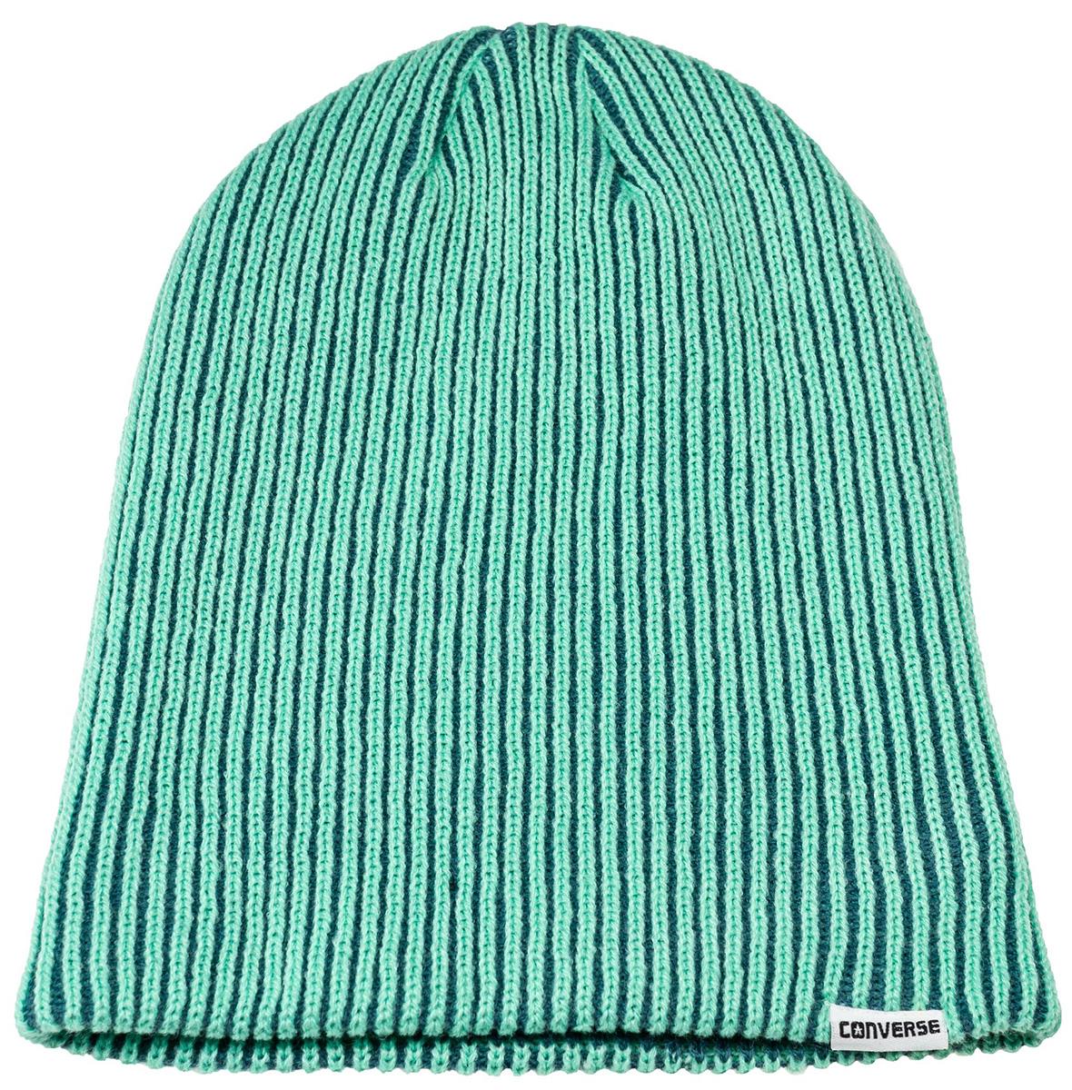 Шапка Converse Contrast Rib Knit, цвет: зеленый. 561851. Размер универсальный561851Шапка Converse изготовленная из 100% акрила мягкая, комфортная и теплая. Практичная форма шапки делает ее очень комфортной. Качественная пряжа не линяет и не растягивается. Шапка Converse прекрасно дополнит ваш наряд и не позволит вам замерзнуть в прохладное время года.