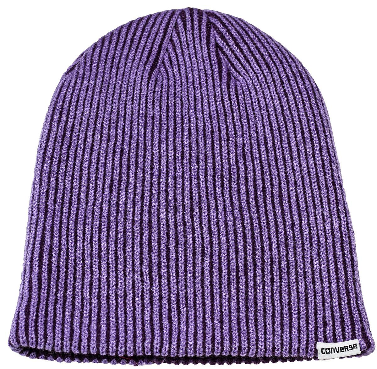 Шапка Converse Contrast Rib Knit, цвет: фиолетовый. 561875. Размер универсальный561875Шапка Converse изготовленная из 100% акрила мягкая, комфортная и теплая. Практичная форма шапки делает ее очень комфортной. Качественная пряжа не линяет и не растягивается. Шапка Converse прекрасно дополнит ваш наряд и не позволит вам замерзнуть в прохладное время года.