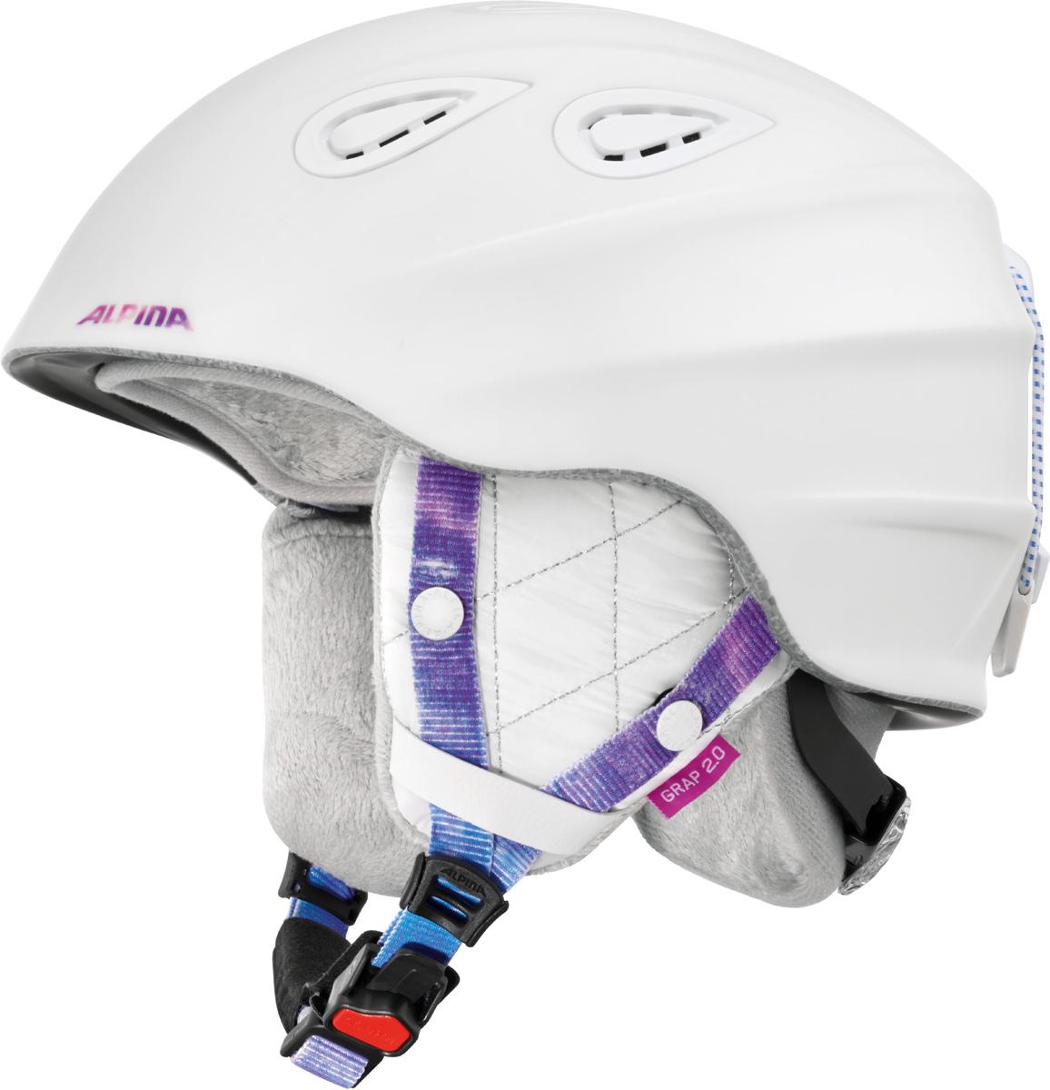 Шлем горнолыжный Alpina Grap 2.0 LE, цвет: белый. A9094_11. Размер 57-61A9094_11Шлем горнолыжный Alpina Grap 2.0 LE - одна из самых популярных моделей в каталоге горнолыжных шлемов Alpina. Надежный, многоцелевой шлем для широкого круга райдеров. L.E. - Limited Edition - ограниченная серия шлемов, выполненная в уникальной расцветке. Интенсивность воздушного потока можно регулировать. Вентиляционные отверстия шлема могут быть открыты и закрыты раздвижным механизмом. Съемные ушки-амбушюры можно снять за секунду и сложить в карман лыжной куртки. Если вы наслаждаетесь катанием в начале апреля, такая возможность должна вас порадовать. А когда температура снова упадет - щелк и вкладыш снова на месте. Внутренник шлема легко вынимается, стирается, сушится и вставляется обратно. Прочная и легкая конструкция In-mold. Тонкая и прочная поликарбонатная оболочка под воздействием высокой температуры и давления буквально сплавляется с гранулами EPS, которые гасят ударную нагрузку. Внутренняя оболочка каждого шлема Alpina состоит из гранул HI-EPS (сильно вспененного полистирола). Микроскопические воздушные карманы эффективно поглощают ударную нагрузку и обеспечивают высокую теплоизоляцию. Эта технология позволяет достичь минимальной толщины оболочки. А так как гранулы HI-EPS не впитывают влагу, их защитный эффект не ослабевает со временем. Из задней части шлема можно достать шейный утеплитель из мягкого микро-флиса. Этот теплый воротник также защищает шею от ударов на высокой скорости и при сибирских морозах. В удобной конструкции отсутствуют точки давления на шею. Вместо фастекса на ремешке используется красная кнопка с автоматическим запирающим механизмом, которую легко использовать даже в лыжных перчатках. Механизм защищен от произвольного раскрытия при падении. Ручка регулировки Run System Classic в задней части шлема позволяет за мгновение комфортно усадить шлем на затылке. Y-образный ремнераспределитель двух ремешков находится под ухом и обеспечивает быструю и точную посадку шл