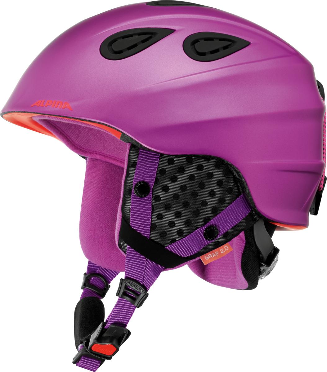 Шлем горнолыжный Alpina Grap 2.0, цвет: лиловый. A9085_52. Размер 54-57A9085_52Во всем мире популярность горнолыжного шлема Grap лишь набирает обороты. Alpina представляет обновленную версию самой продаваемой модели. Шлем Grap 2.0 сохранил отличительные особенности предыдущей модели и приобрел новые, за которые его выбирают райдеры по всему миру. Универсальность, легкость и прочность сделали его обязательным элементом экипировки любителей горнолыжного спорта. Модель также представлена в детской линейке шлемов.Технологии:• Конструкция In-Mold - соединение внутреннего слоя из EPS (вспененного полистирола) с внешним покрытием под большим давлением в условиях высокой температуры. В результате внешняя поликарбонатная оболочка сохраняет форму конструкции, предотвращая поломку и попадание осколков внутрь шлема, а внутренний слой Hi-EPS, состоящий из множества наполненных воздухом гранул, амортизирует ударную волну, защищая голову райдера от повреждений.• Внешнее покрытие Ceramic Shell обеспечивает повышенную ударопрочность и износостойкость, а также обладает защитой от УФ-излучений, препятствующей выгоранию на солнце, и антистатичными свойствами.• Съемный внутренний тканевый слой. Подкладку можно постирать и легко вставить обратно. Своевременный уход за «внутренником» предотвращает появление неприятного запаха.• Вентиляционная система с раздвижным механизмом с возможностью регулировки интенсивности потока воздуха.• Классическая система регулировки в шлемах Alpina Run System с регулировочным кольцом на затылке позволяет быстро и легко подобрать оптимальную и комфортную плотность посадки на голове.• Съемные ушки согревают в холодную погоду, а в теплую компактно хранятся в кармане куртки.• Шейный воротник из микрофлиса в задней части шлема быстро согревает и не давит на шею.• Ремешок фиксируется кнопкой с запирающим механизмом. Застежка максимально удобна для использования в перчатках.• Система Edge Protect в конструкции шлема защищает голову горнолыжника при боковом ударе.• 
