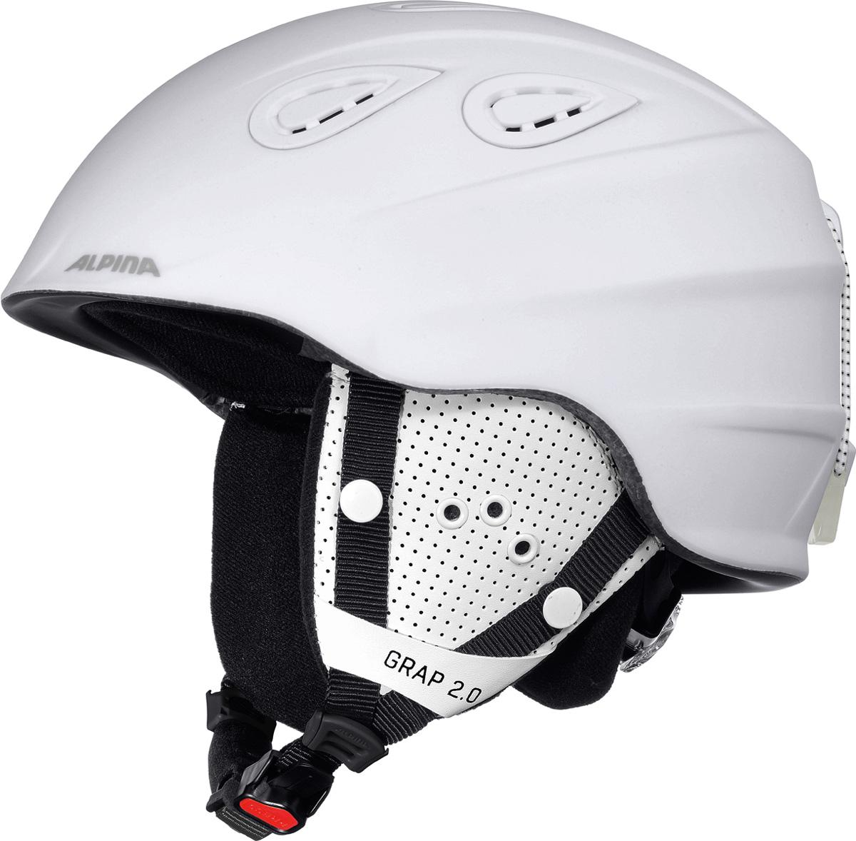Шлем горнолыжный Alpina Grap 2.0, цвет: белый. A9085_12. Размер 54-57A9085_12Во всем мире популярность горнолыжного шлема Grap лишь набирает обороты. Alpina представляет обновленную версию самой продаваемой модели. Шлем Grap 2.0 сохранил отличительные особенности предыдущей модели и приобрел новые, за которые его выбирают райдеры по всему миру. Универсальность, легкость и прочность сделали его обязательным элементом экипировки любителей горнолыжного спорта. Модель также представлена в детской линейке шлемов.Технологии:Конструкция In-Mold - соединение внутреннего слоя из EPS (вспененного полистирола) с внешним покрытием под большим давлением в условиях высокой температуры. В результате внешняя поликарбонатная оболочка сохраняет форму конструкции, предотвращая поломку и попадание осколков внутрь шлема, а внутренний слой Hi-EPS, состоящий из множества наполненных воздухом гранул, амортизирует ударную волну, защищая голову райдера от повреждений.Внешнее покрытие Ceramic Shell обеспечивает повышенную ударопрочность и износостойкость, а также обладает защитой от УФ-излучений, препятствующей выгоранию на солнце, и антистатичными свойствами.Съемный внутренний тканевый слой. Подкладку можно постирать и легко вставить обратно. Своевременный уход за внутренником предотвращает появление неприятного запаха.Вентиляционная система с раздвижным механизмом с возможностью регулировки интенсивности потока воздуха.Классическая система регулировки в шлемах Alpina Run System с регулировочным кольцом на затылке позволяет быстро и легко подобрать оптимальную и комфортную плотность посадки на голове.Съемные ушки согревают в холодную погоду, а в теплую компактно хранятся в кармане куртки.Шейный воротник из микрофлиса в задней части шлема быстро согревает и не давит на шею.Ремешок фиксируется кнопкой с запирающим механизмом. Застежка максимально удобна для использования в перчатках.Система Edge Protect в конструкции шлема защищает голову горнолыжника при боковом ударе.Система Y-Clip гарантиру